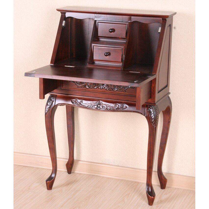 international caravan windsor hand carved wood secretary desk reviews wayfair. Black Bedroom Furniture Sets. Home Design Ideas