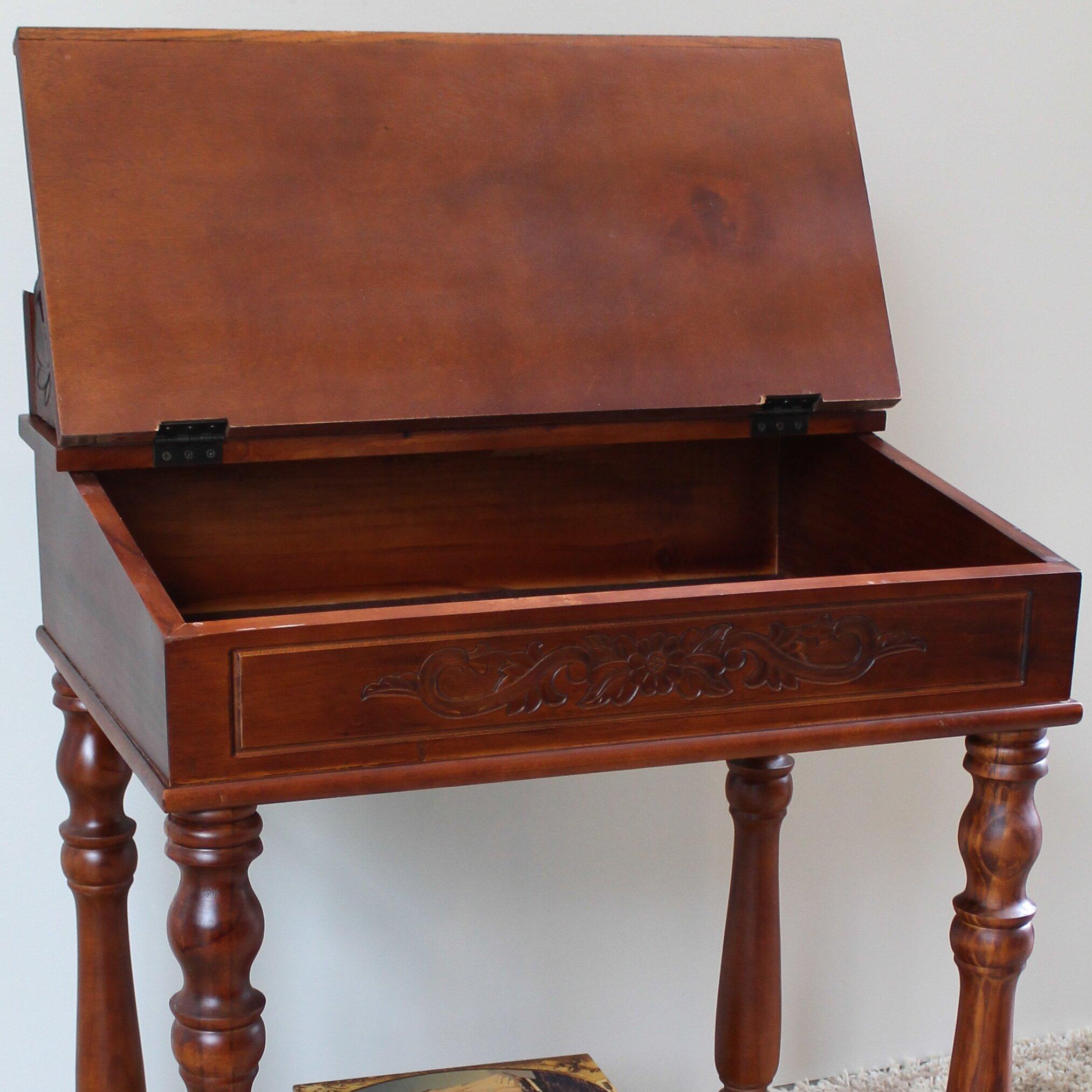 Wood Writing Desk ~ International caravan windsor hand carved small wood