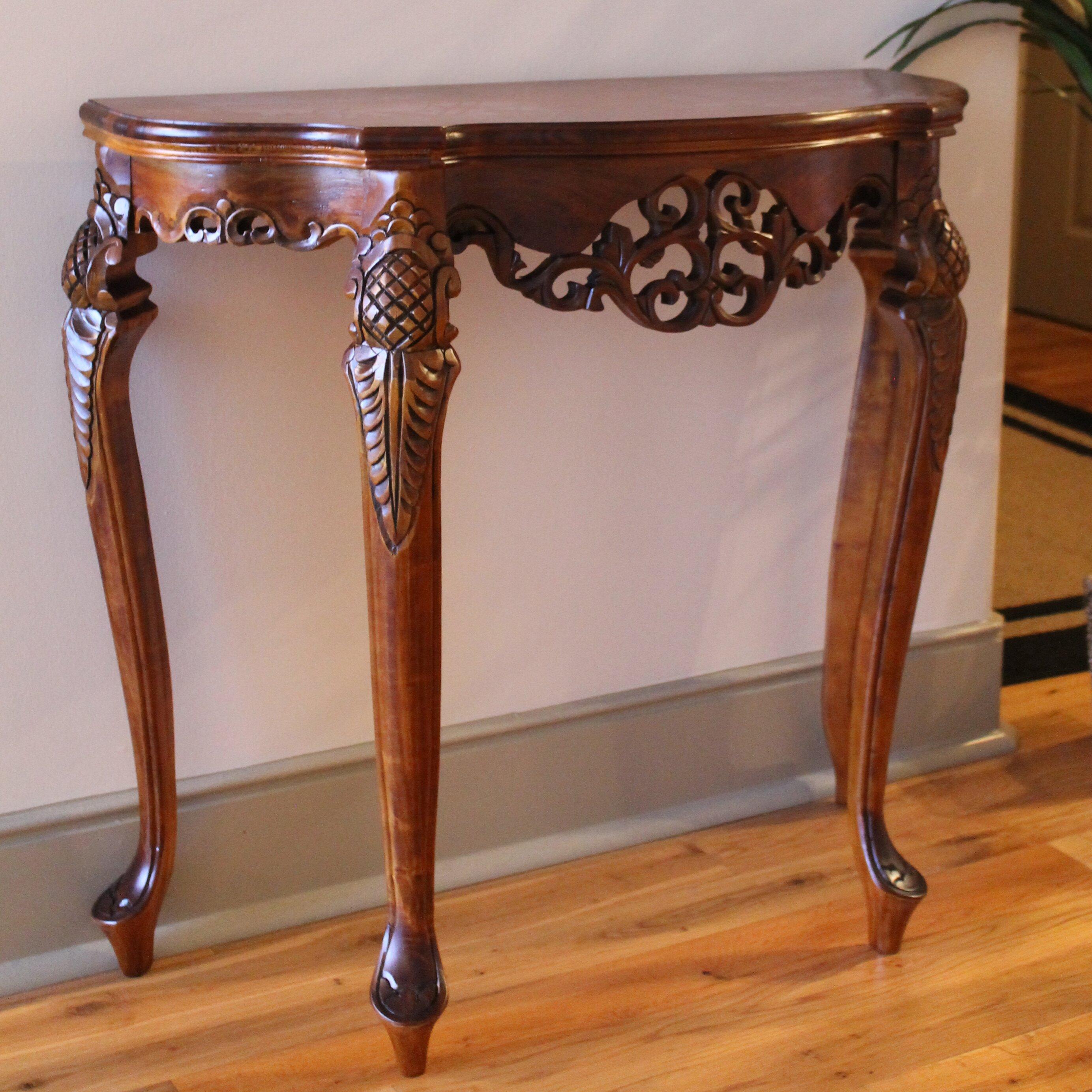 Hand Carved Console Table ~ International caravan windsor hand carved wood indoor
