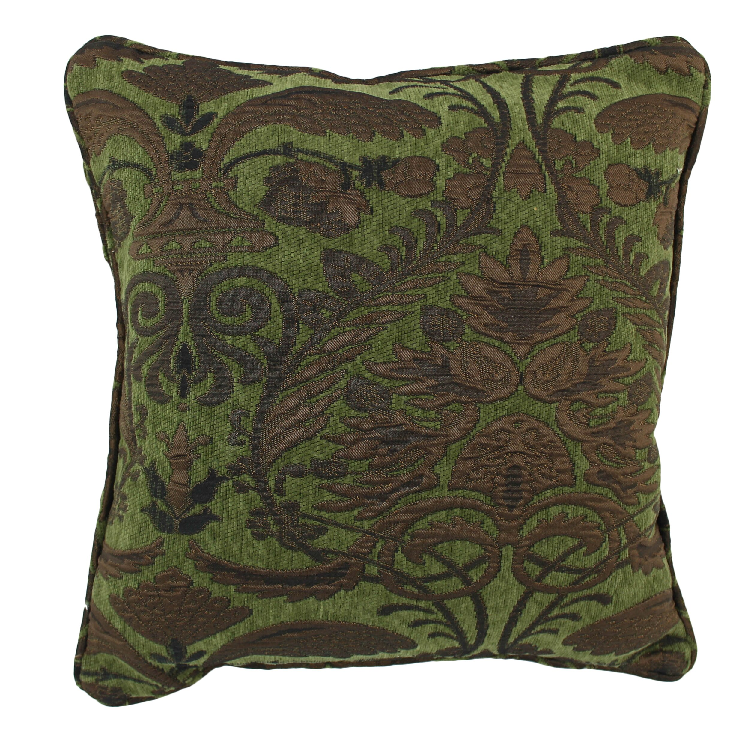 Blazing Needles 18-inch Corded Green Damask Jacquard Chenille Throw Pillow Wayfair