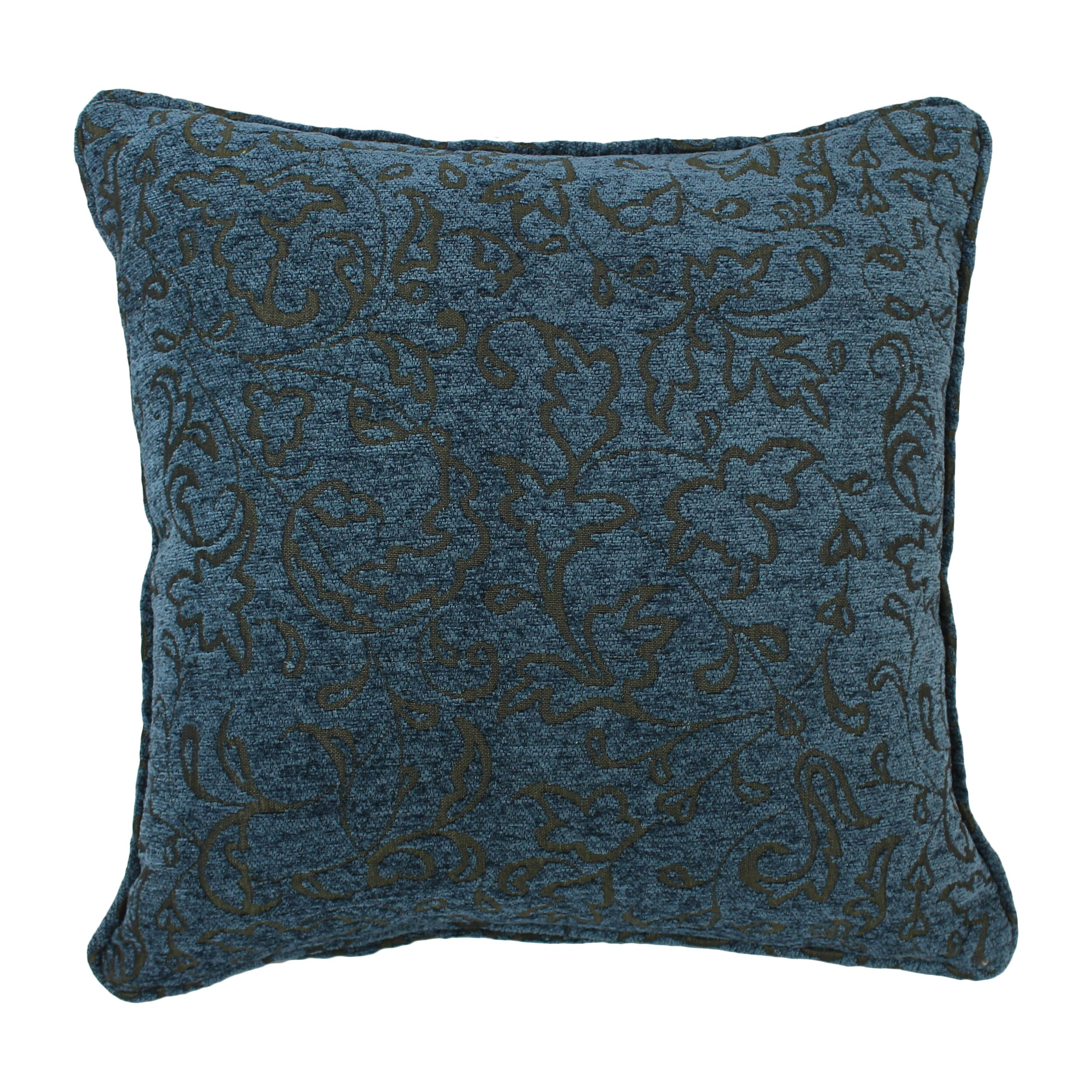 Jacquard Throw Pillows : Blazing Needles 18-inch Corded Blue Floral Jacquard Chenille Throw Pillow & Reviews Wayfair