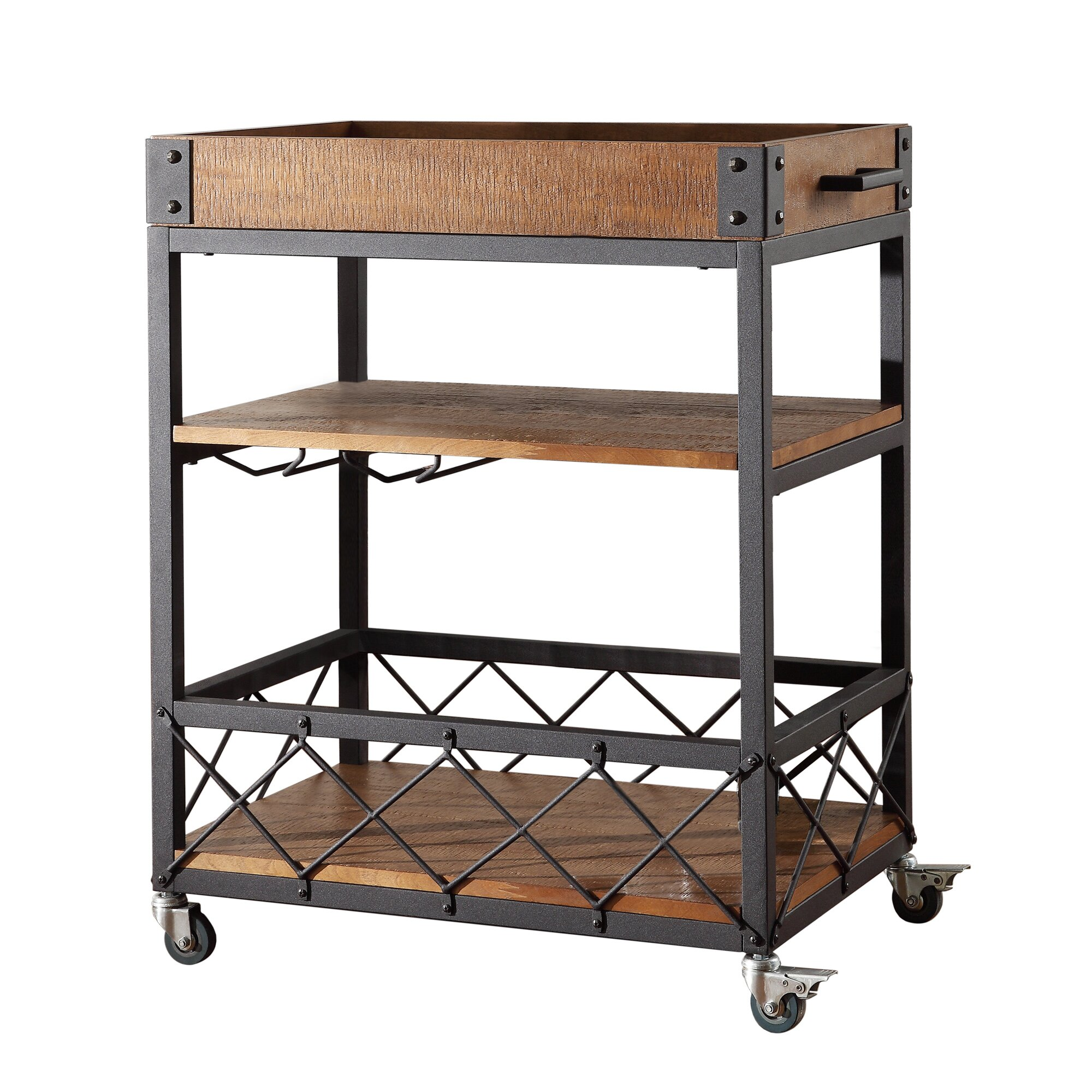 Mercury Row Aletha Kitchen Cart With Wooden Top Reviews