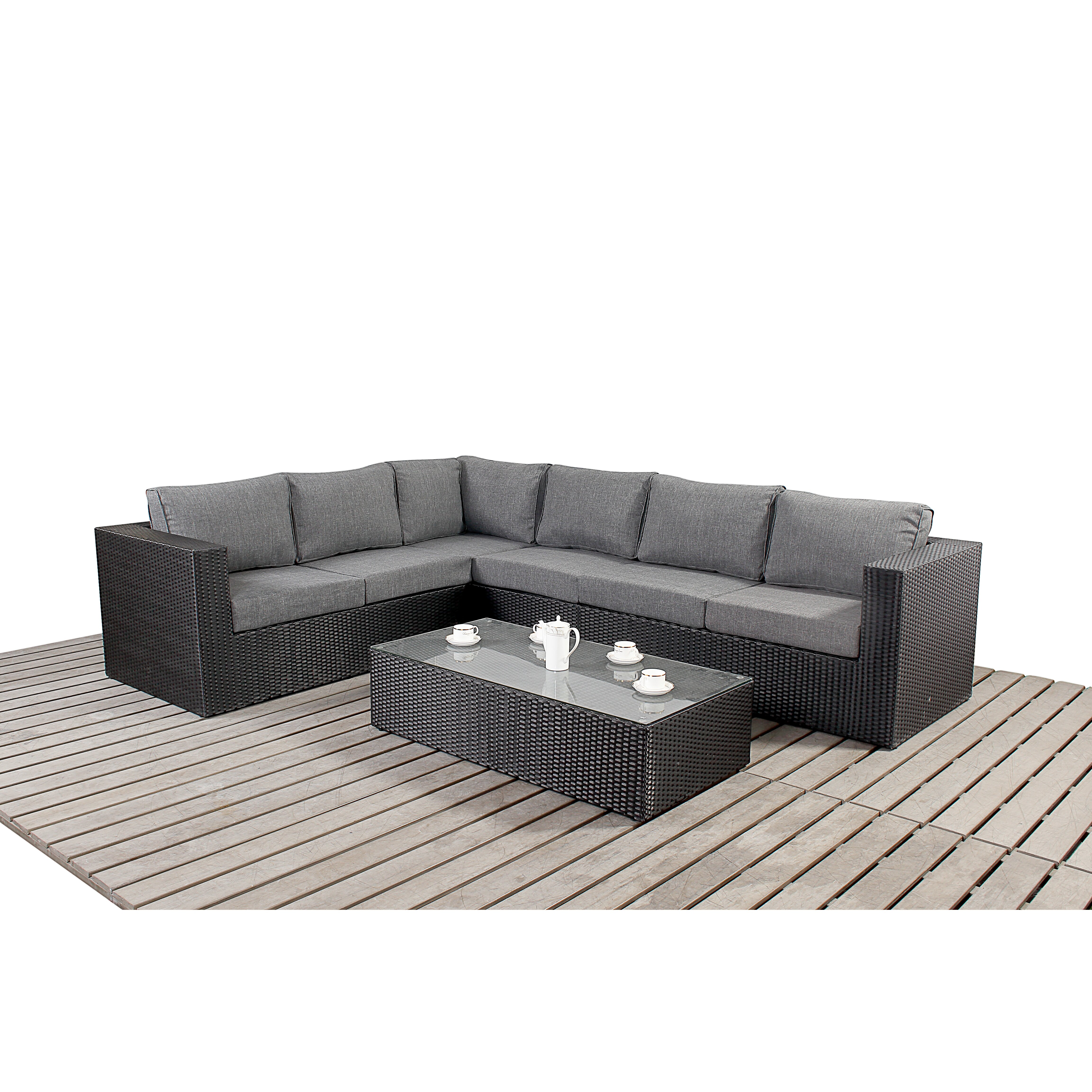 Port royal prestige 6 seater sectional sofa set with for Sofa 6 seater