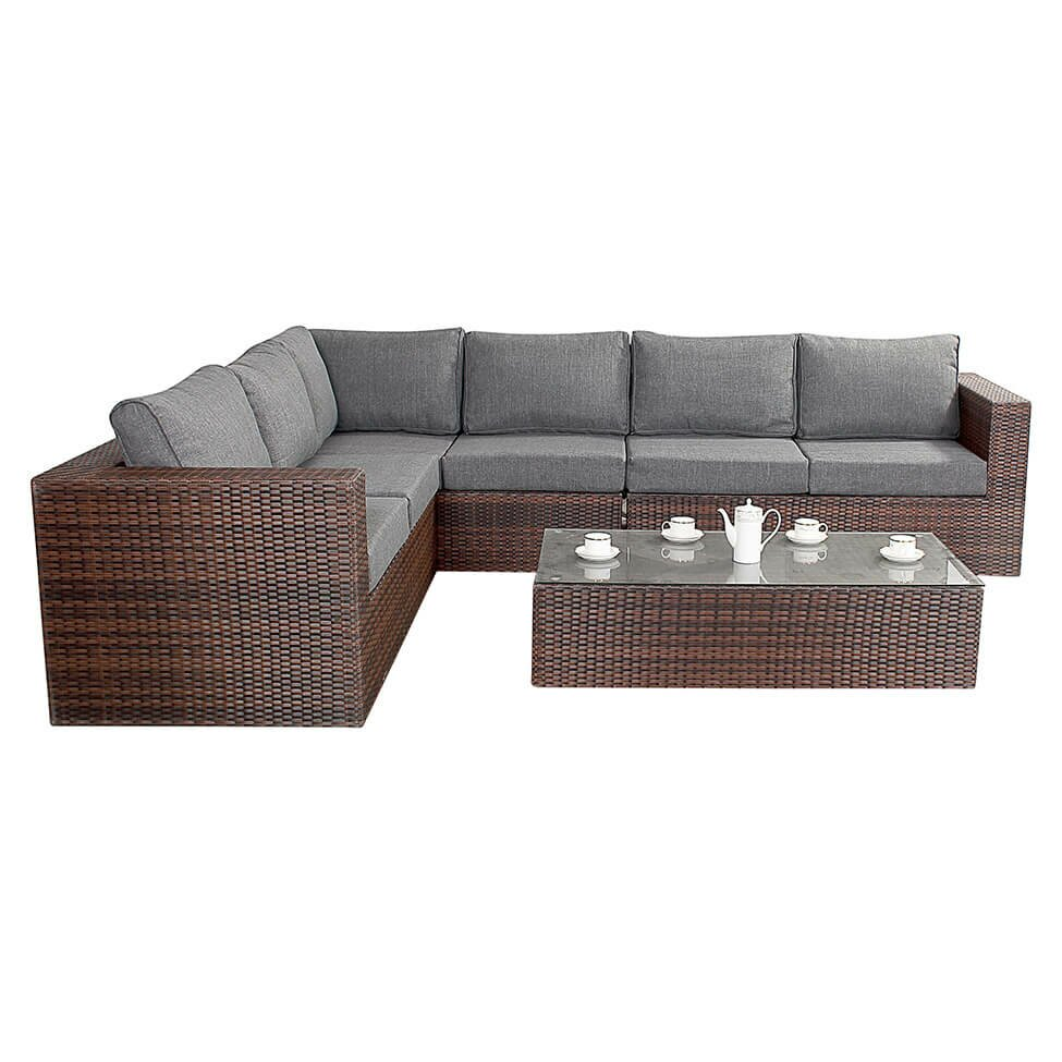 Port royal prestige 6 seater sectional sofa set with for Sectional sofa 6 seater