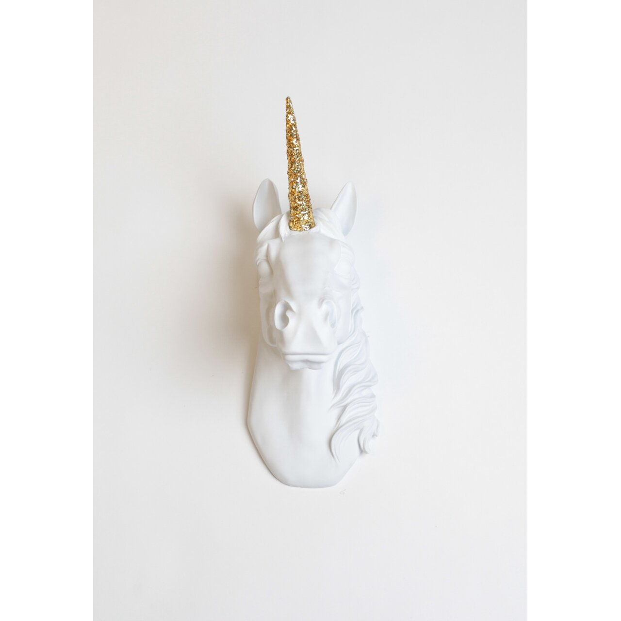 white faux taxidermy the bayer unicorn head wall d cor reviews wayfair. Black Bedroom Furniture Sets. Home Design Ideas