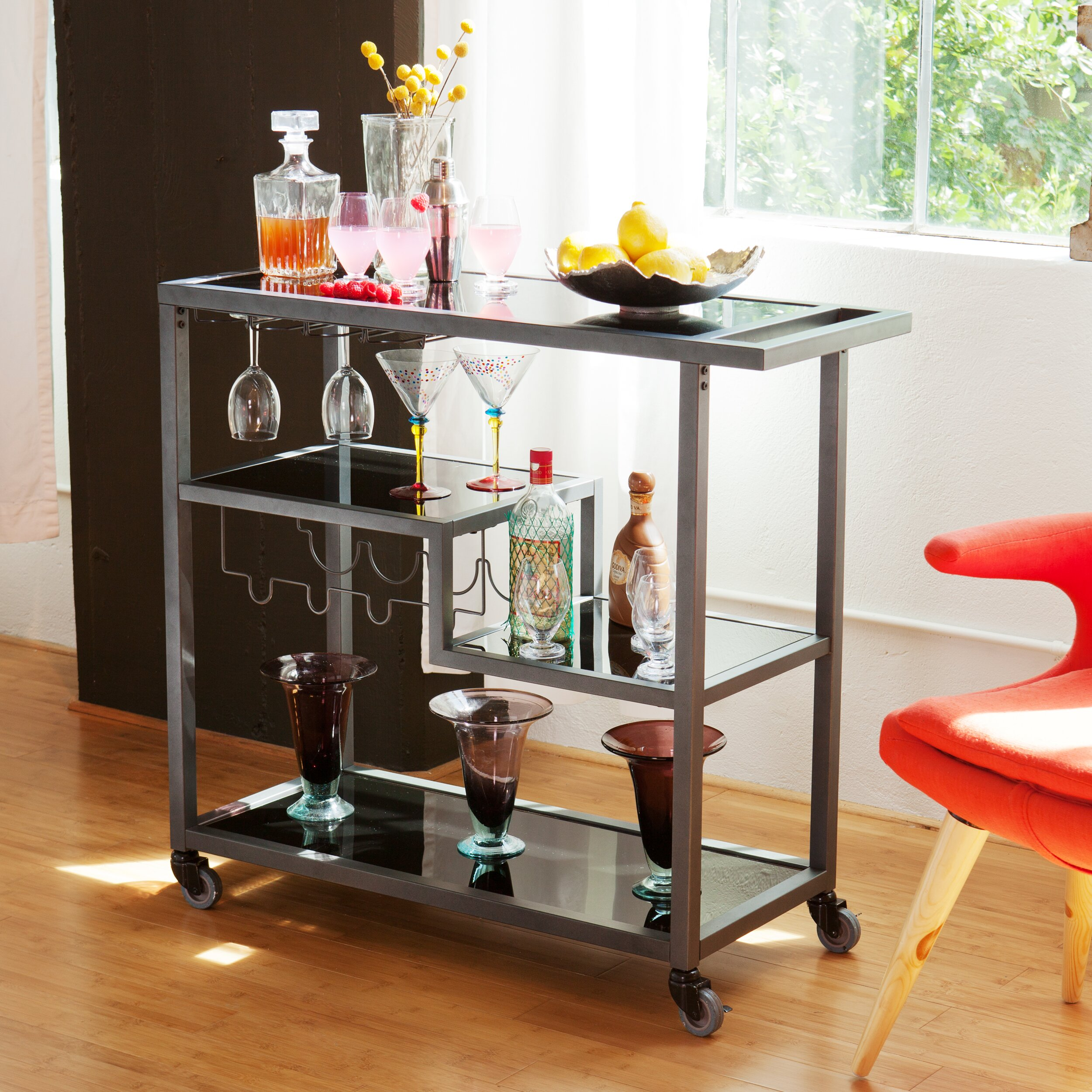 Holly & Martin Zephs Serving Cart With Glass Top & Reviews