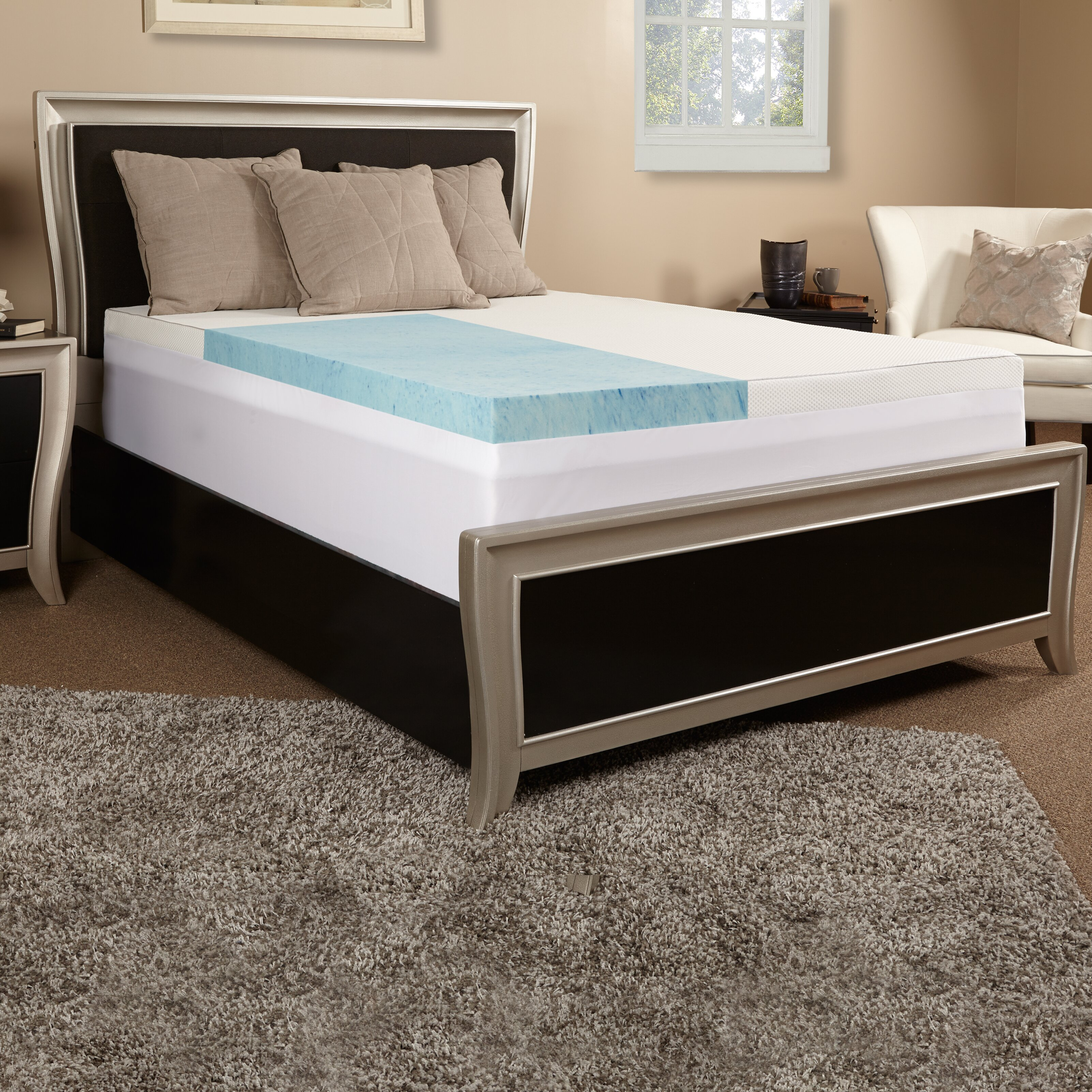luxury solutions 3 gel memory foam mattress topper w cover reviews wayfair. Black Bedroom Furniture Sets. Home Design Ideas