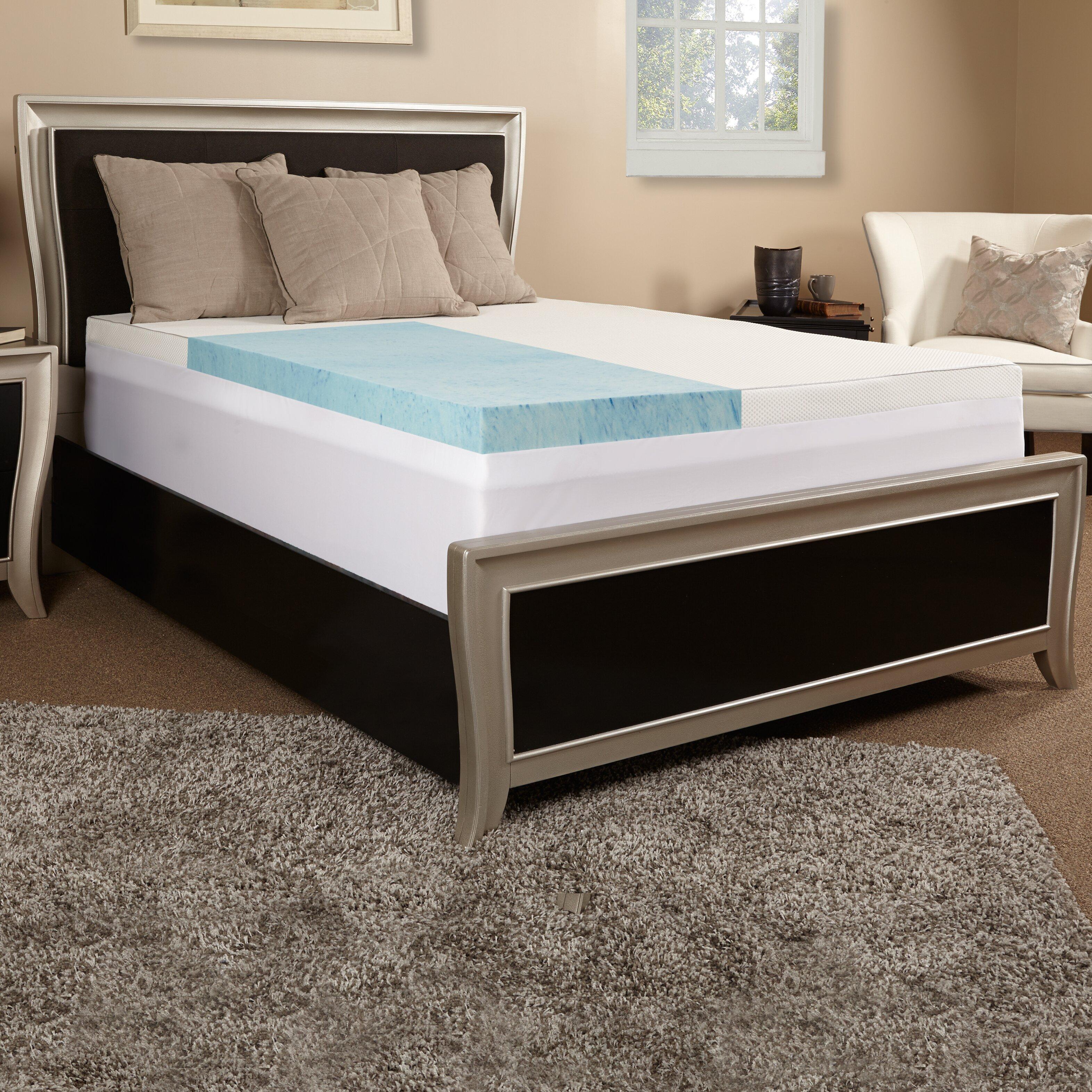 luxury solutions 4 gel memory foam mattress topper w cover reviews wayfair. Black Bedroom Furniture Sets. Home Design Ideas