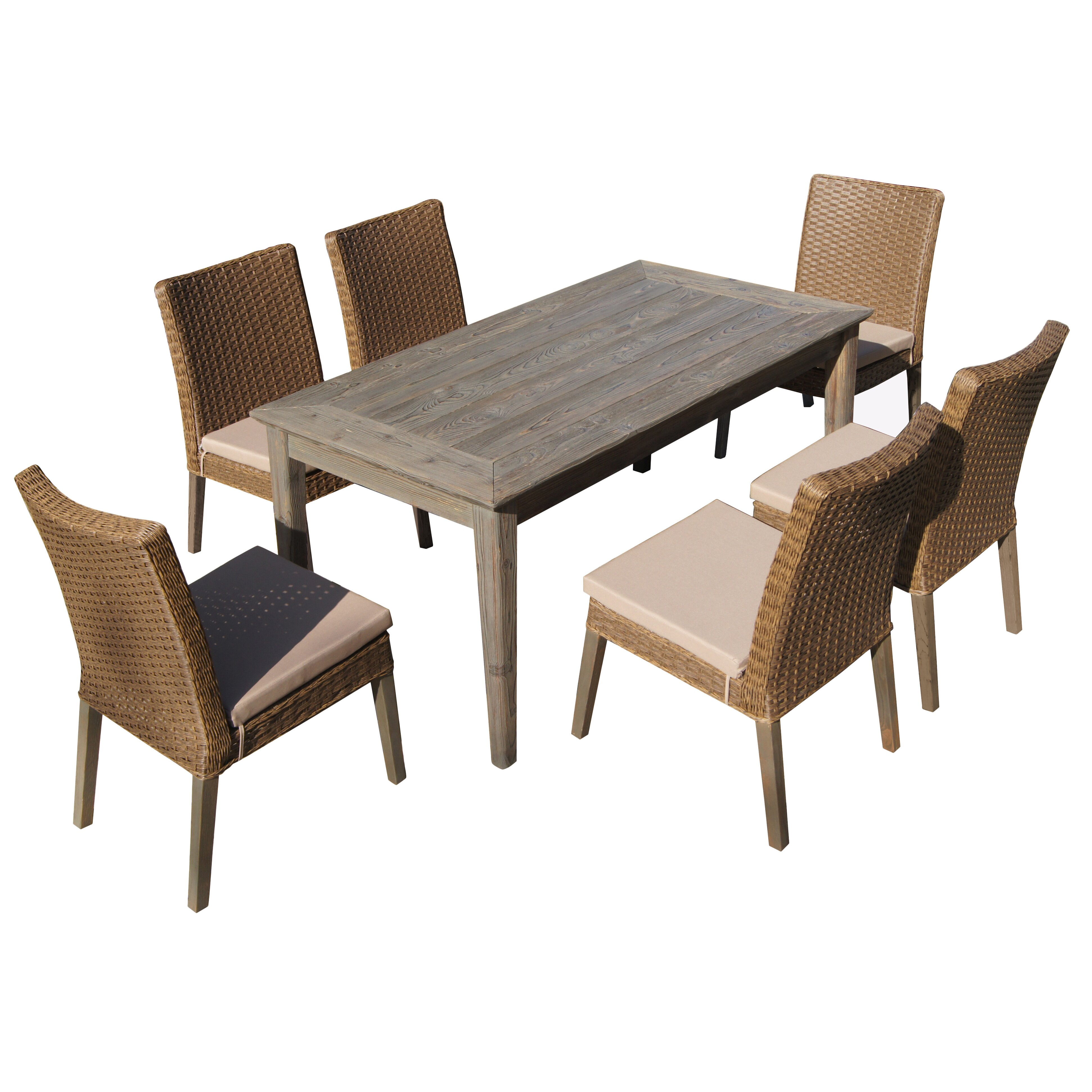 Thy hom winchester 7 piece dining set with cushion for Hom patio furniture