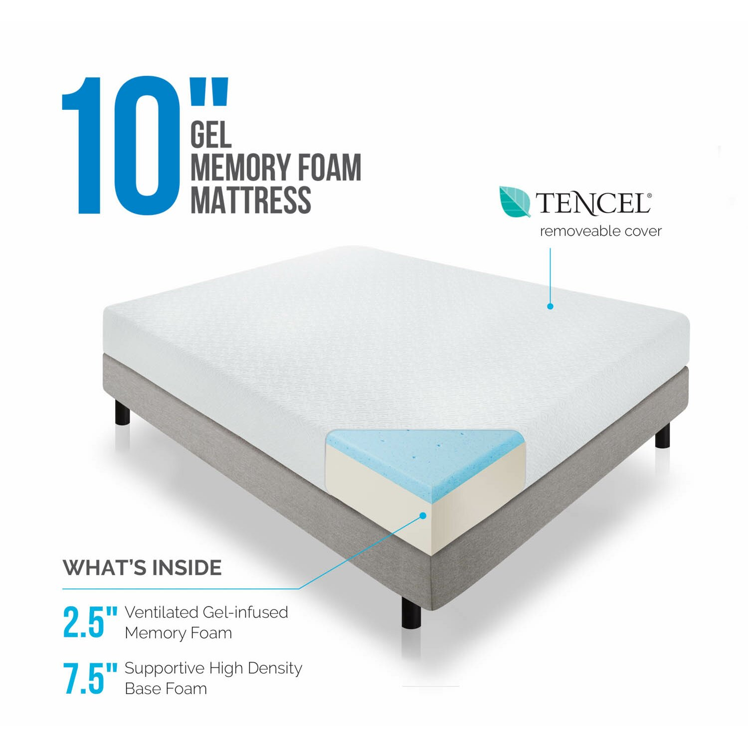 Lucid 10 Memory Foam Mattress Reviews Wayfair: memory foam mattress buy
