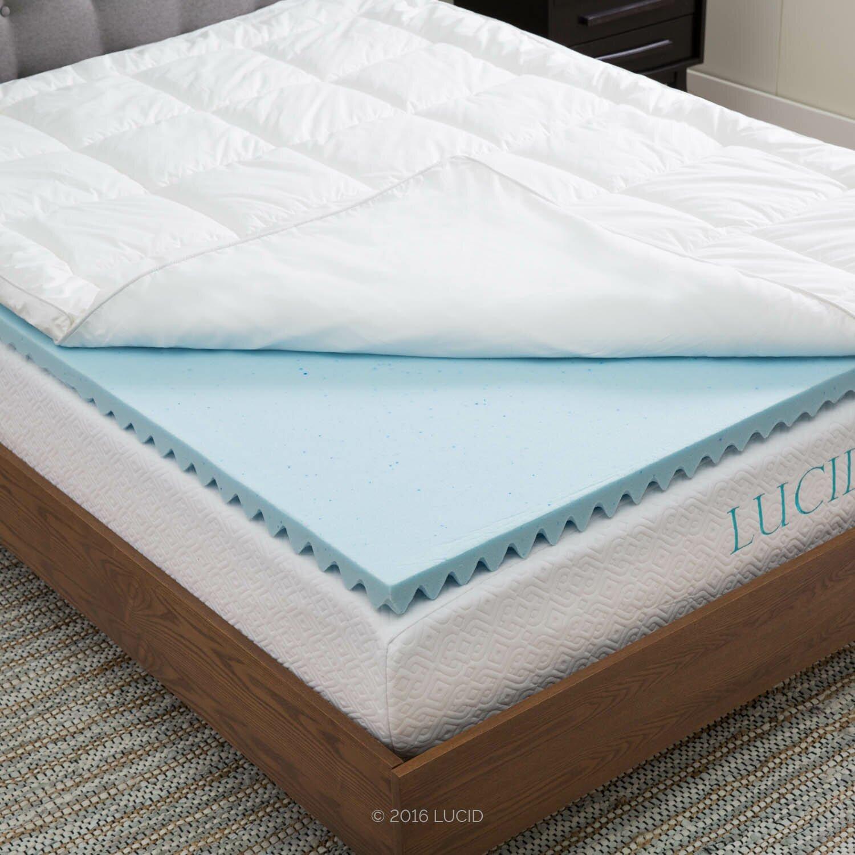 lucid down alternative gel infused memory foam mattress topper reviews wayfair. Black Bedroom Furniture Sets. Home Design Ideas