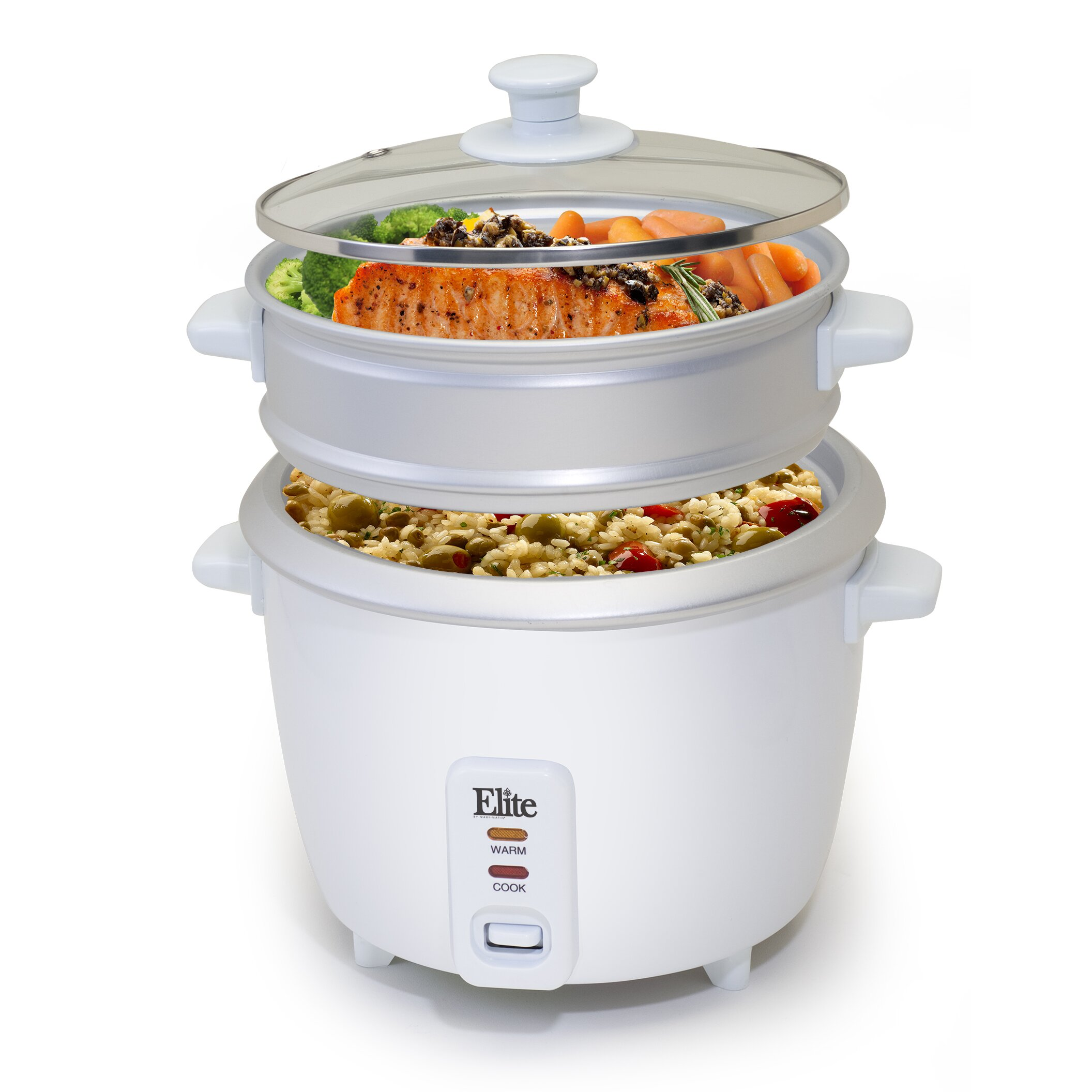 Kitchen Living Food Steamer: Elite By Maxi-Matic Gourmet 16-Cup Rice Cooker With Steam