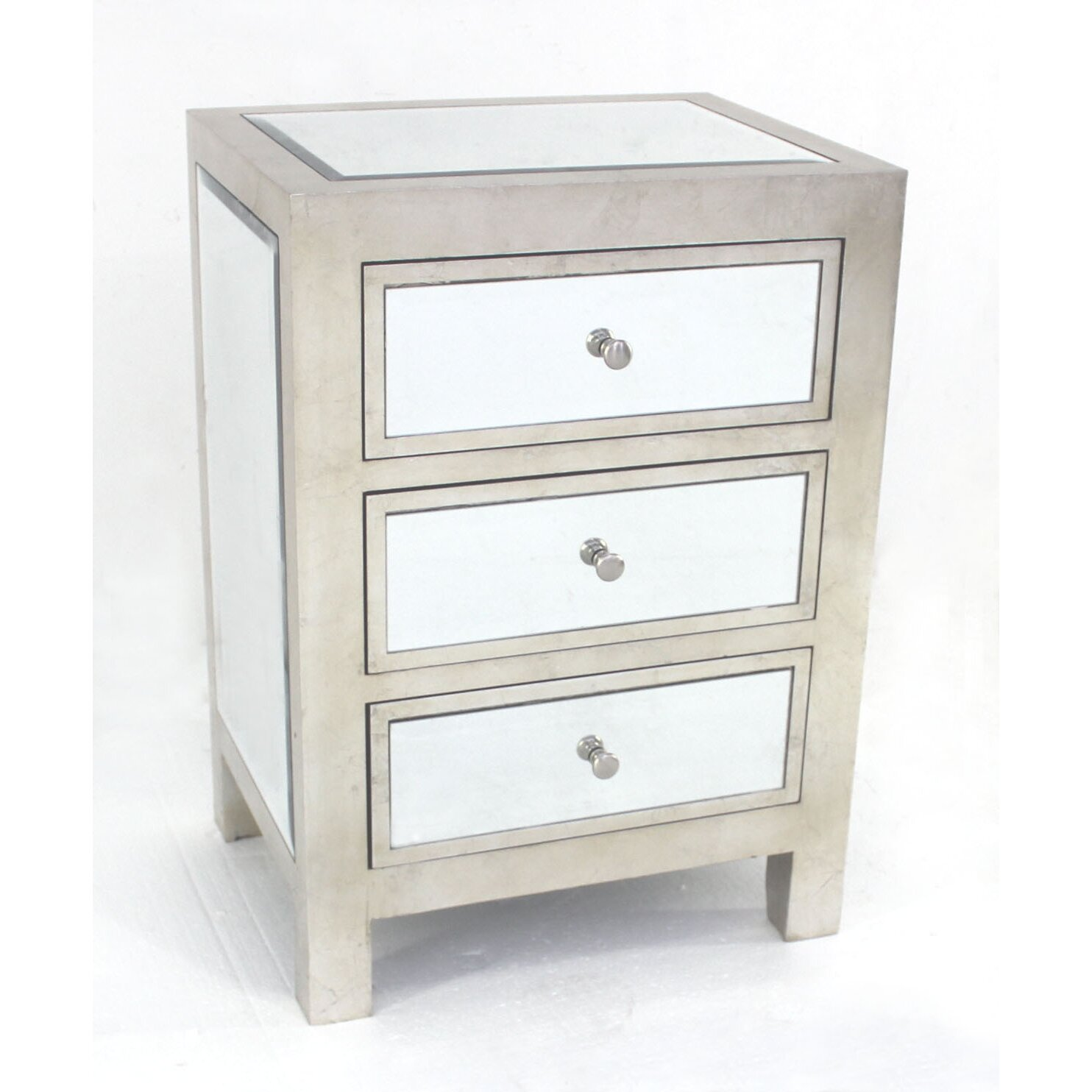 Marvelous photograph of Teton Home Wooden 3 Drawers Wood Cabinet Mirrored AF 083 AF 083.jpg with #6E665D color and 1484x1484 pixels