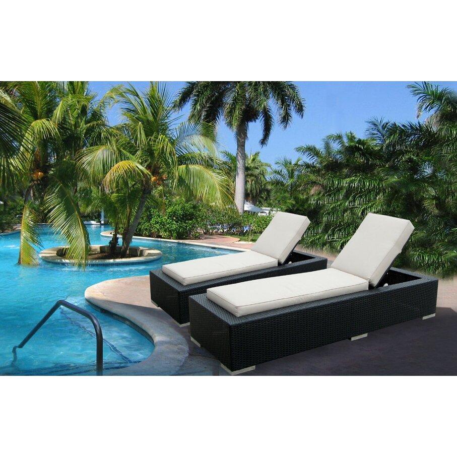 Ohana depot chaise lounge with cushion wayfair for Chaise longue jardin brico depot