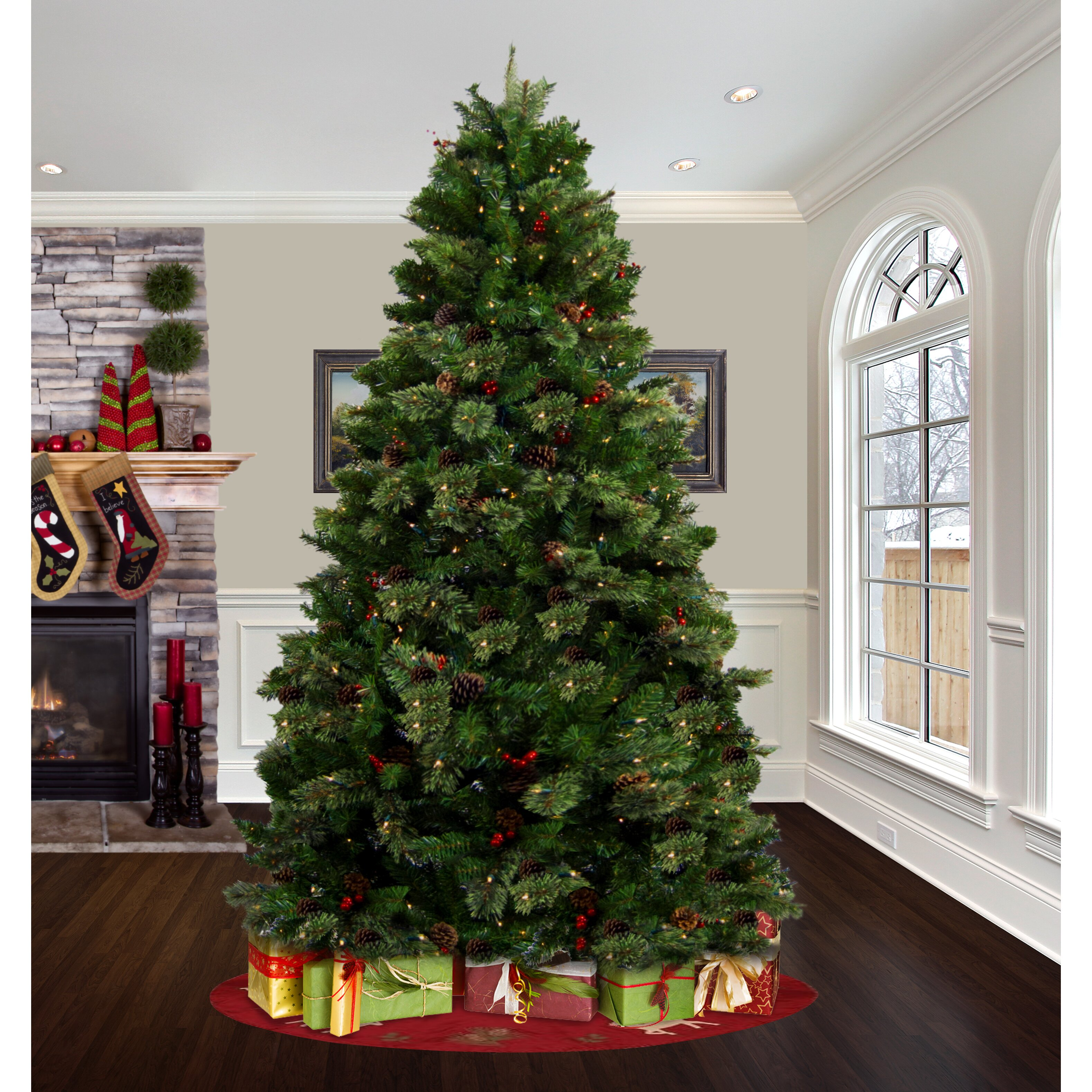 Astella 7.5' Green Artificial Christmas Tree with 500 Clear Lights ...