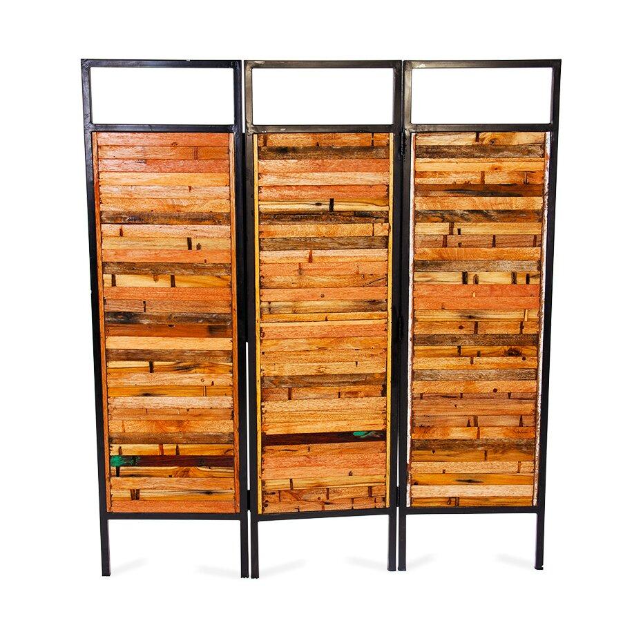 Ecochic lifestyles 67 x 60 luna sea 3 reclaimed wood panel room divider reviews wayfair - Wood panel rooms ...