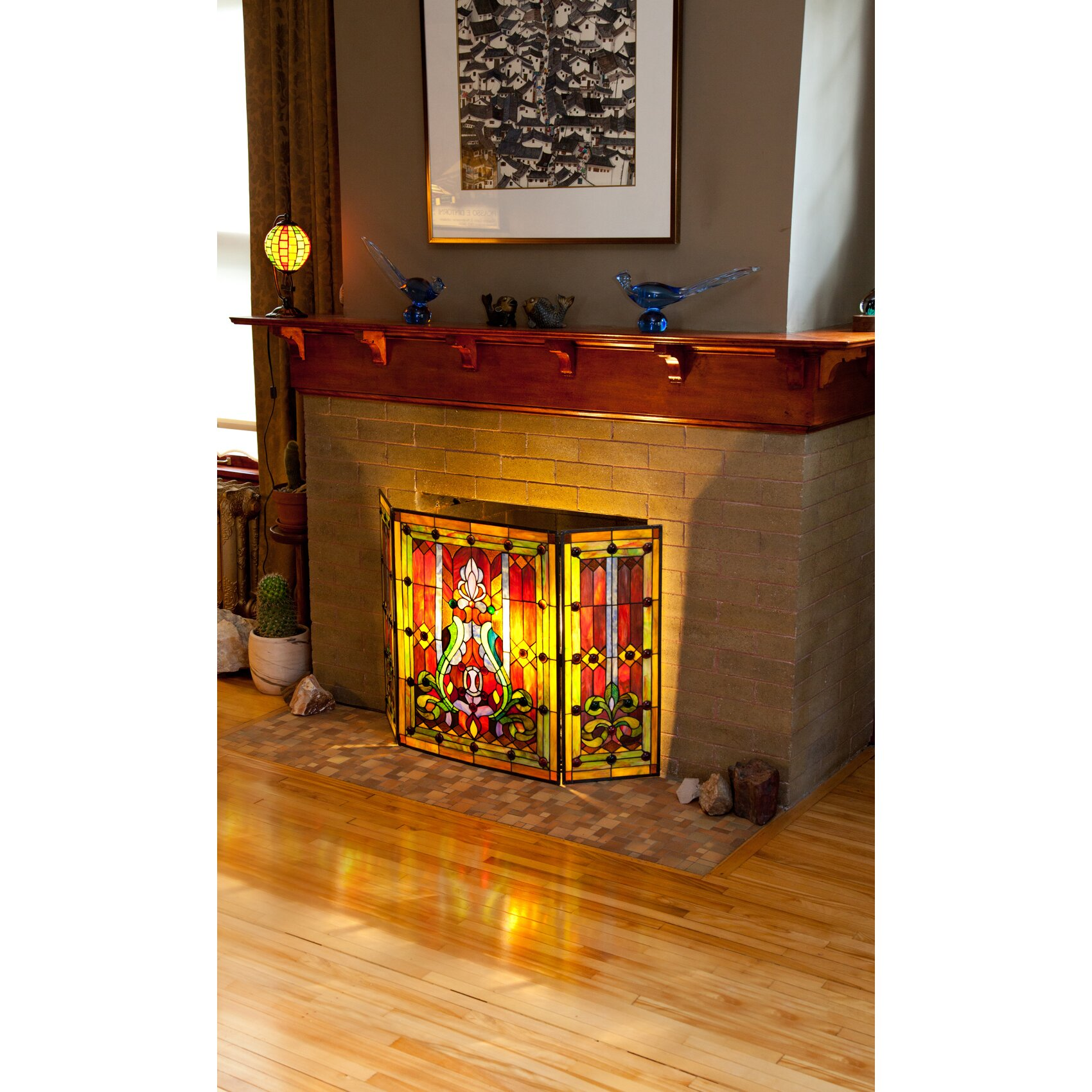 River Of Goods Fleur De Lis Tiffany Style Stained Glass Fireplace Screen Reviews Wayfair