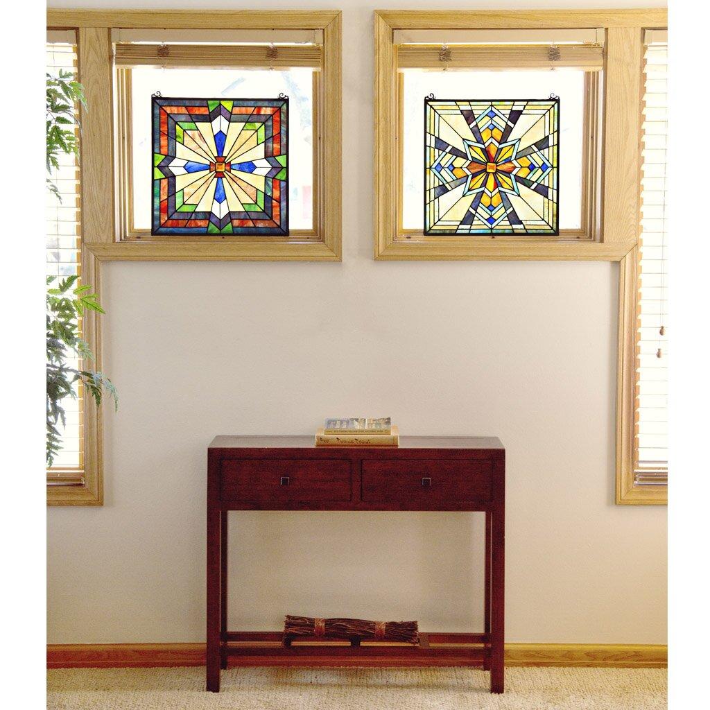 sunburst tiffany style stained glass window panel reviews wayfair