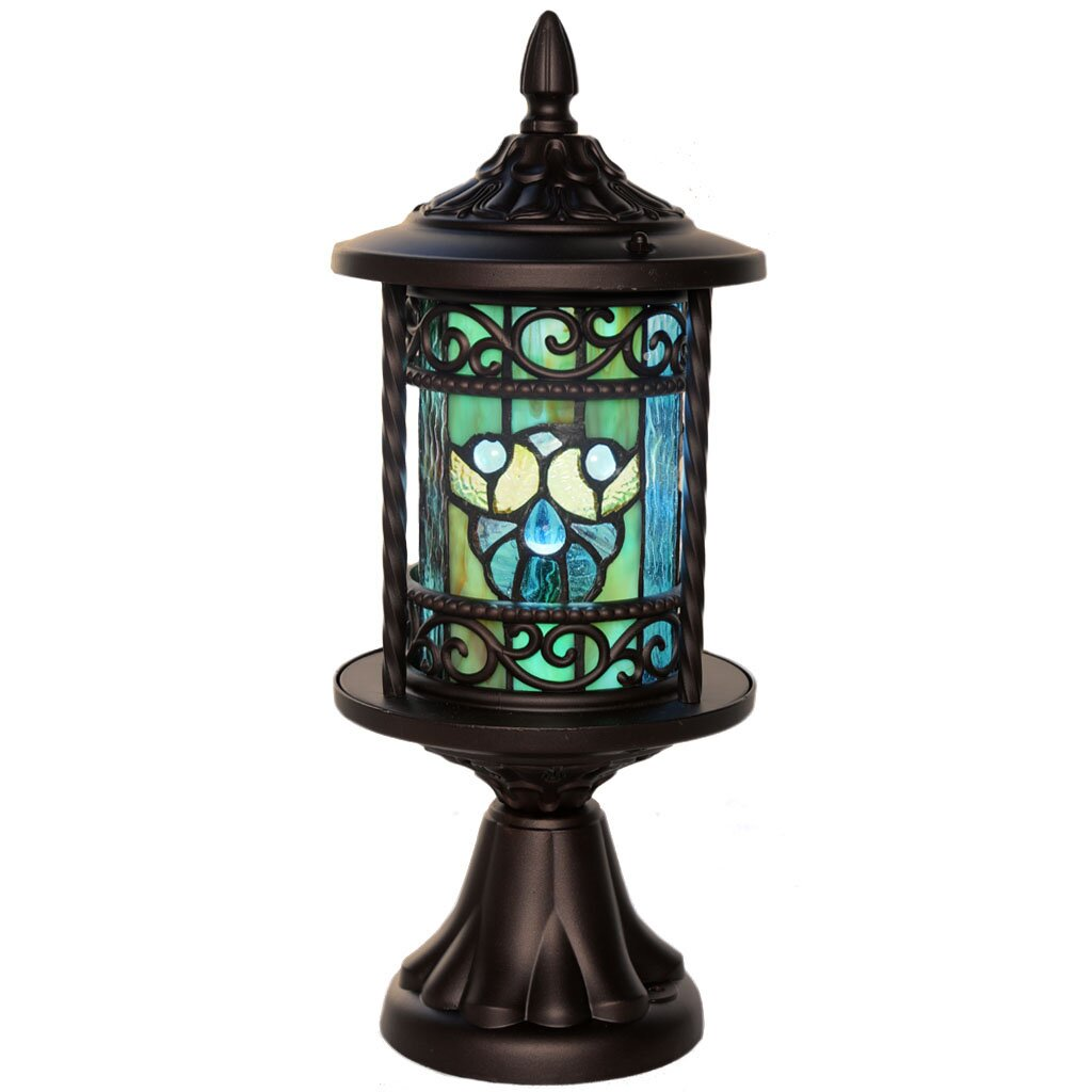 Outdoor Wall Light Stained Glass : River of Goods Swirling Shells Stained Glass Outdoor 10 Light LED Pier Mount Light Wayfair.ca