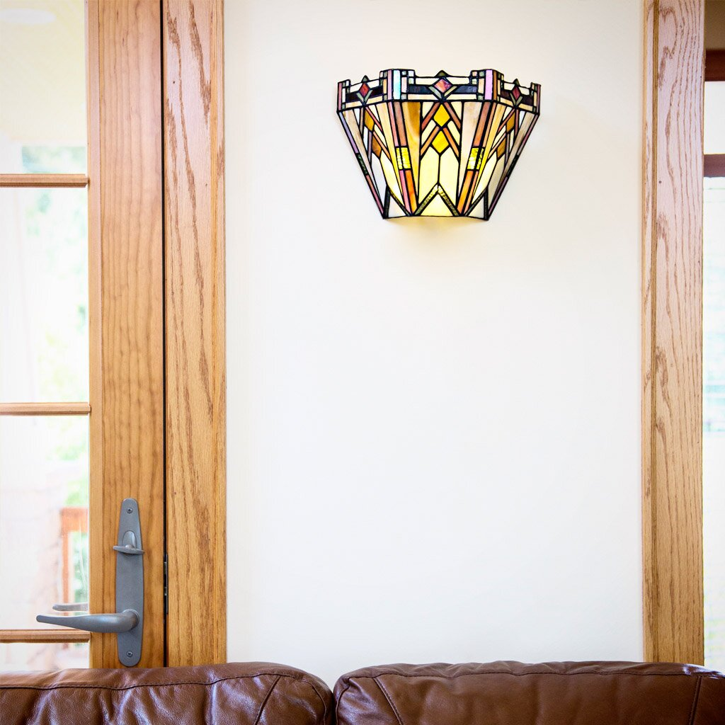 River of Goods Mission Style Stained Glass Wireless LED Wall Sconce & Reviews Wayfair