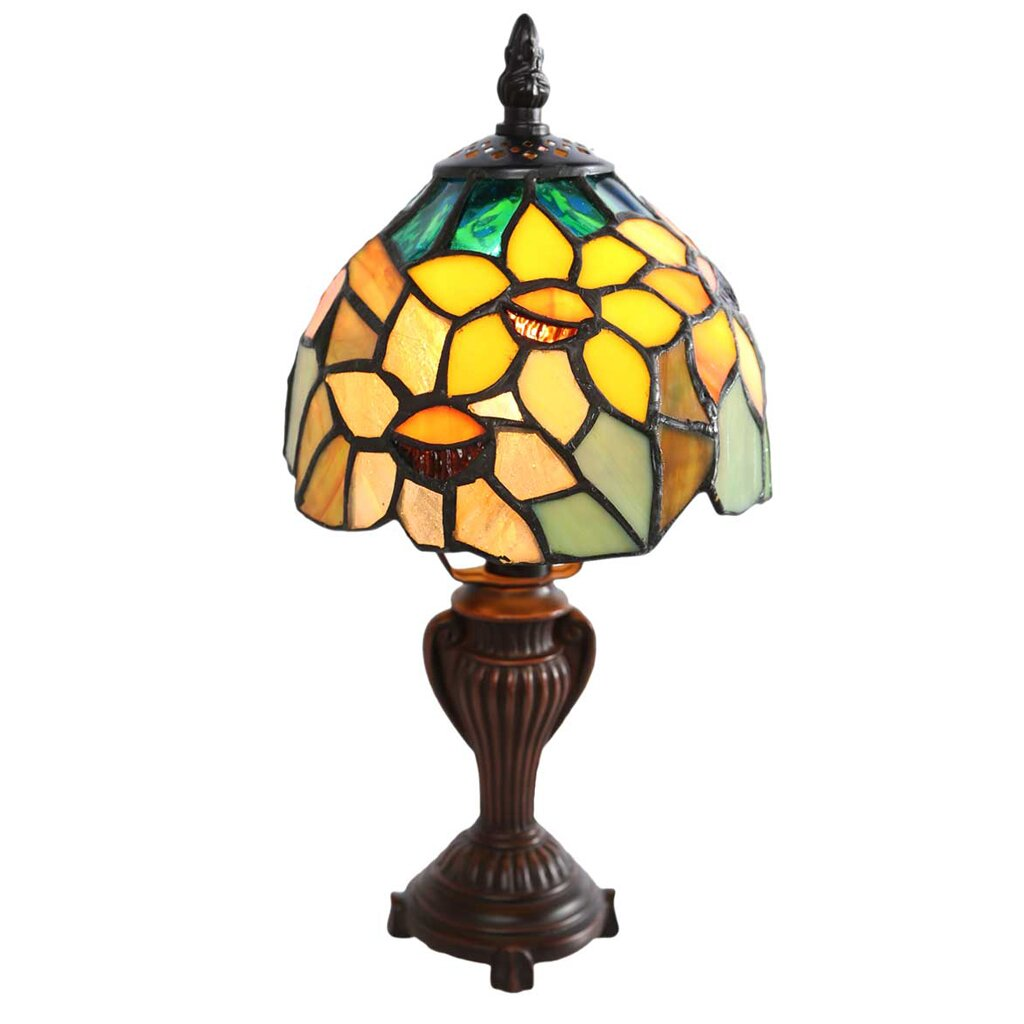 "Wayfair Table Lamps >> River of Goods Sunflower Blossoms Tiffany Style Stained Glass 11.5"" Table Lamp & Reviews 