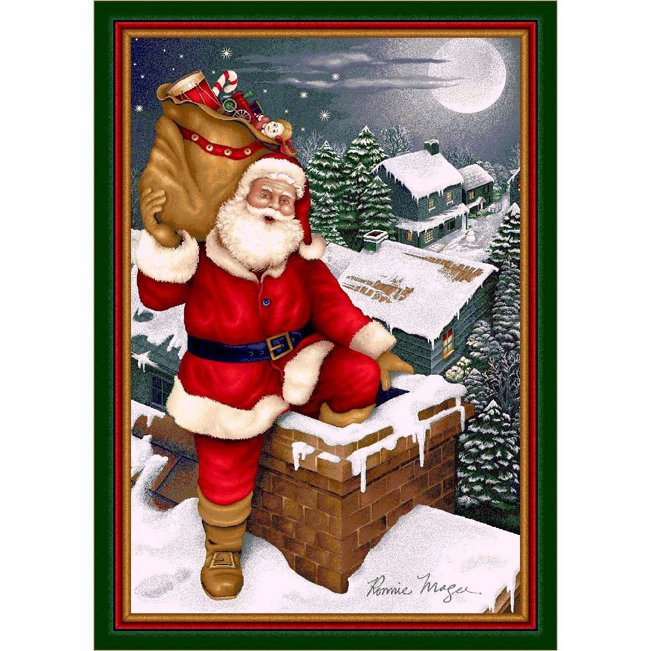 Milliken Winter Seasonal Up On The Housetop Christmas Area