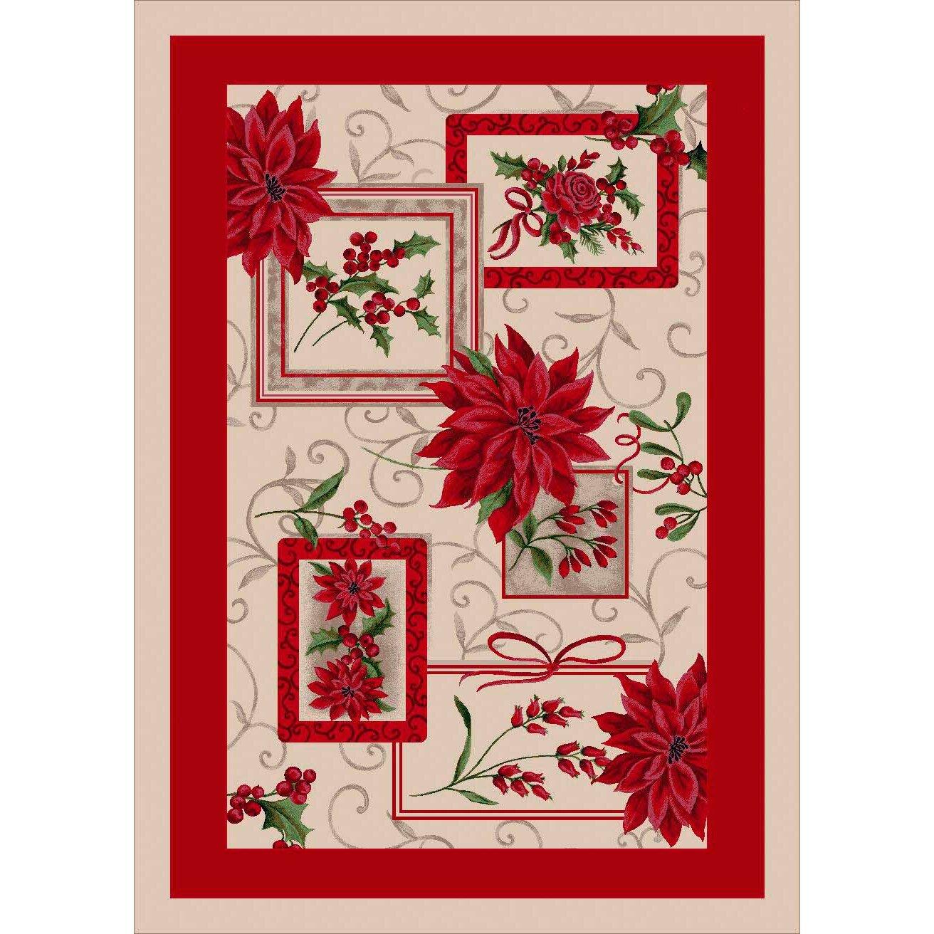Milliken Winter Seasonal Holiday Winter Bouquet Red/ Beige