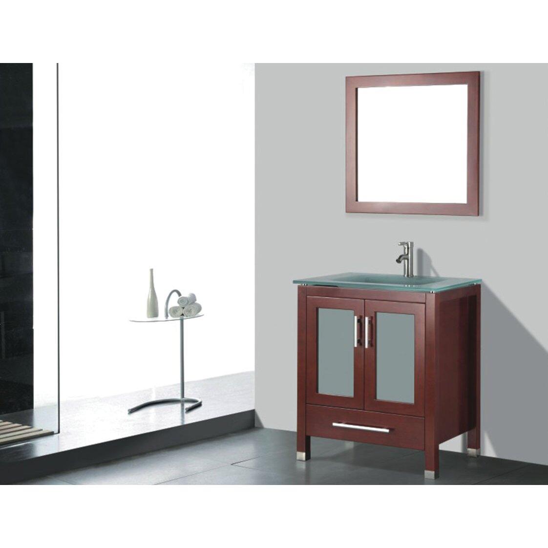 Adornus amara 24 single bathroom vanity set with mirror for Bathroom mirror set