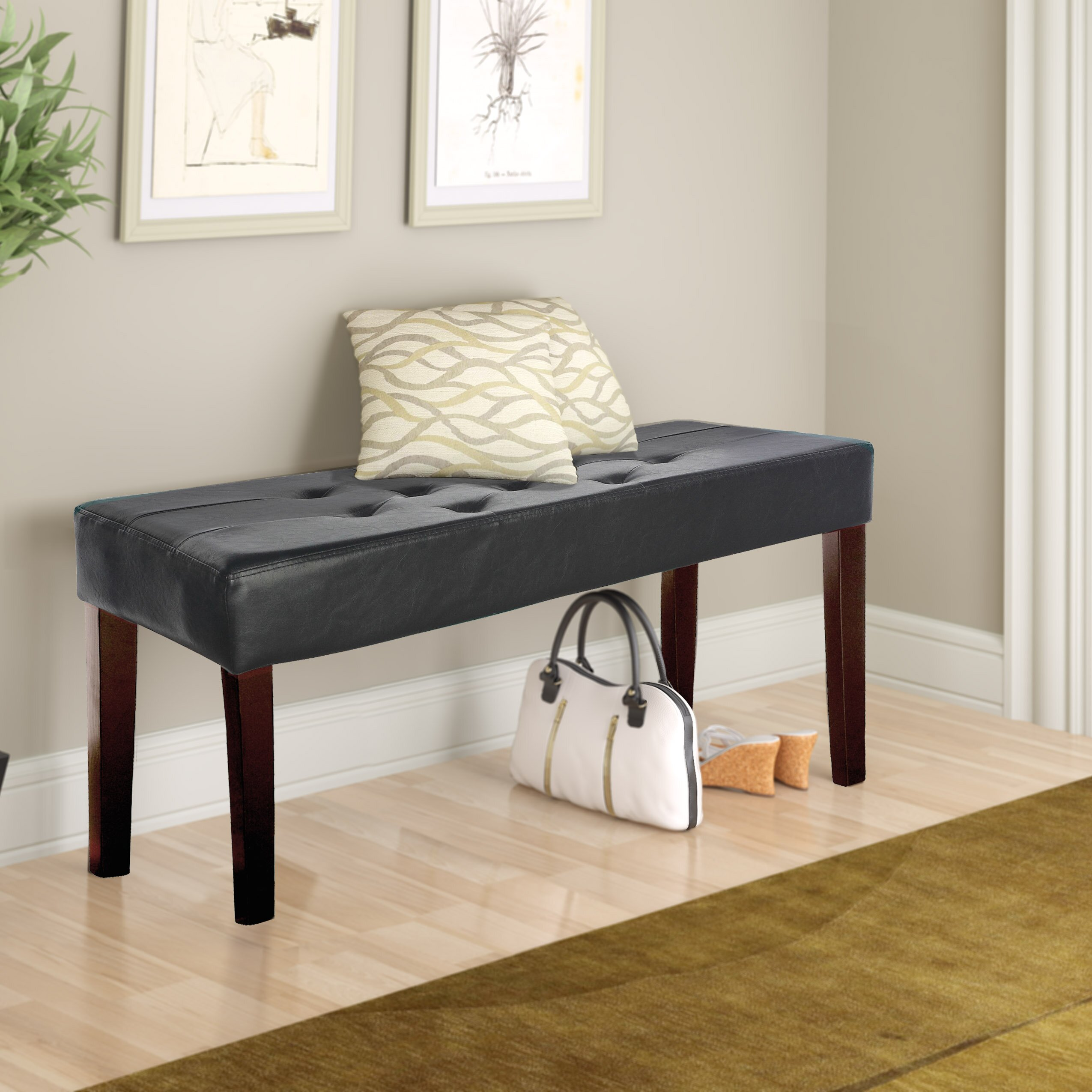 Upholstered Foyer Bench : Corliving fresno upholstered entryway bench reviews