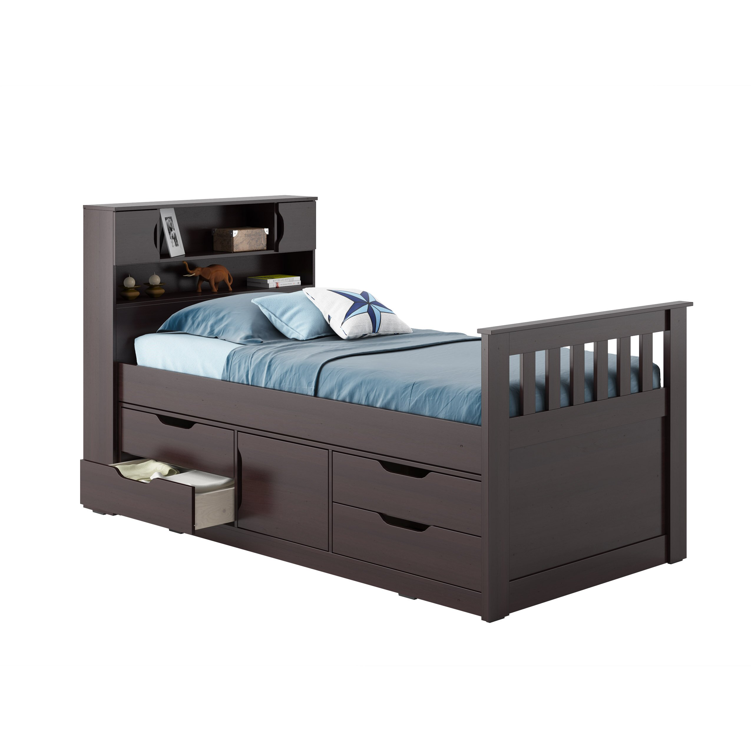Corliving madison twin captain bed with storage reviews for Twin bed with storage