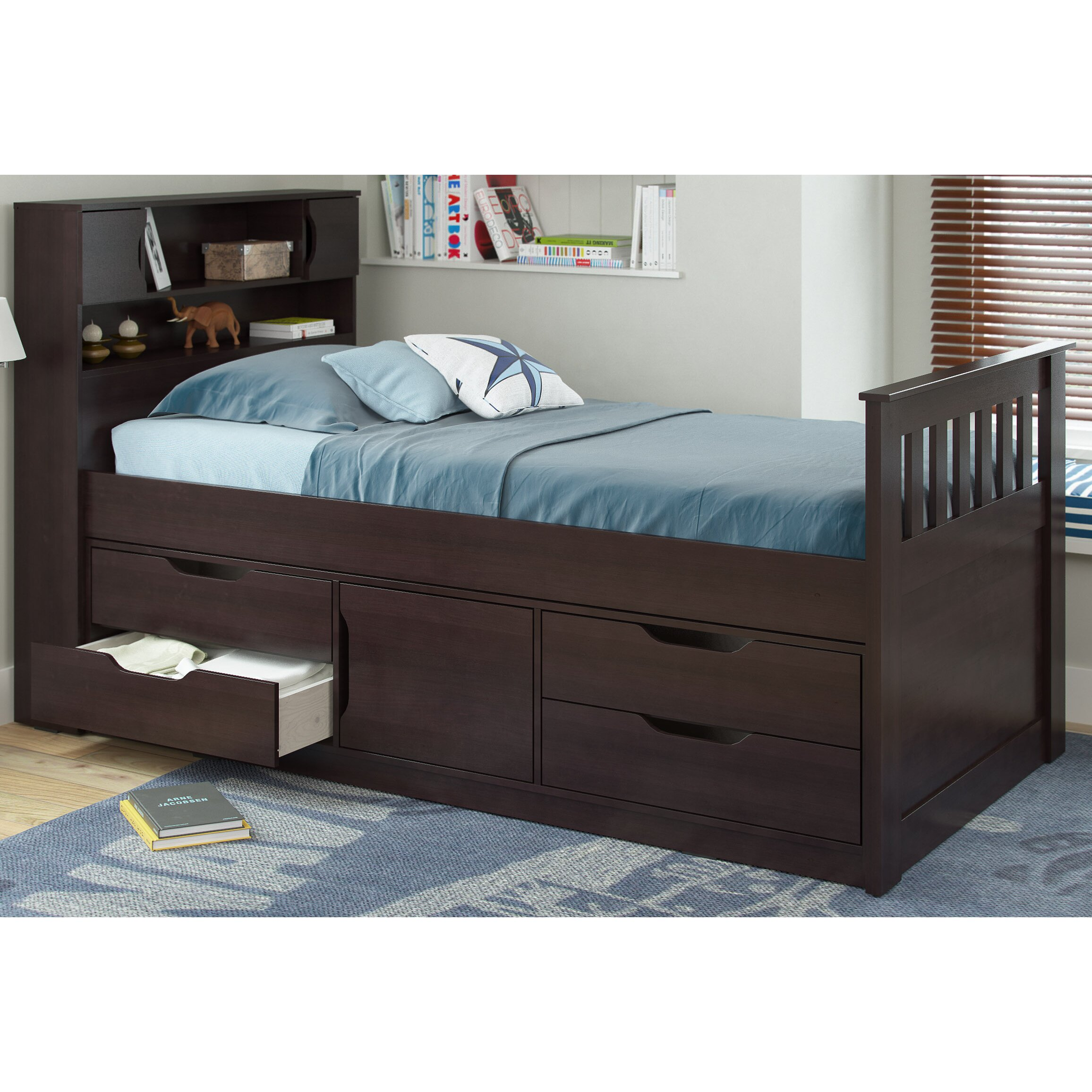 corliving madison twin captain bed with storage reviews wayfair. Black Bedroom Furniture Sets. Home Design Ideas