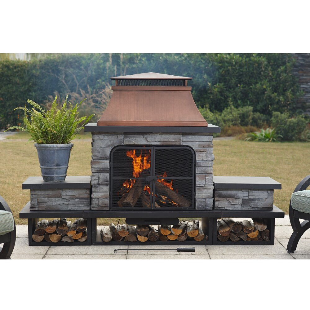 Sunjoy connan steel wood outdoor fireplace reviews wayfair for Where to buy outdoor fireplace