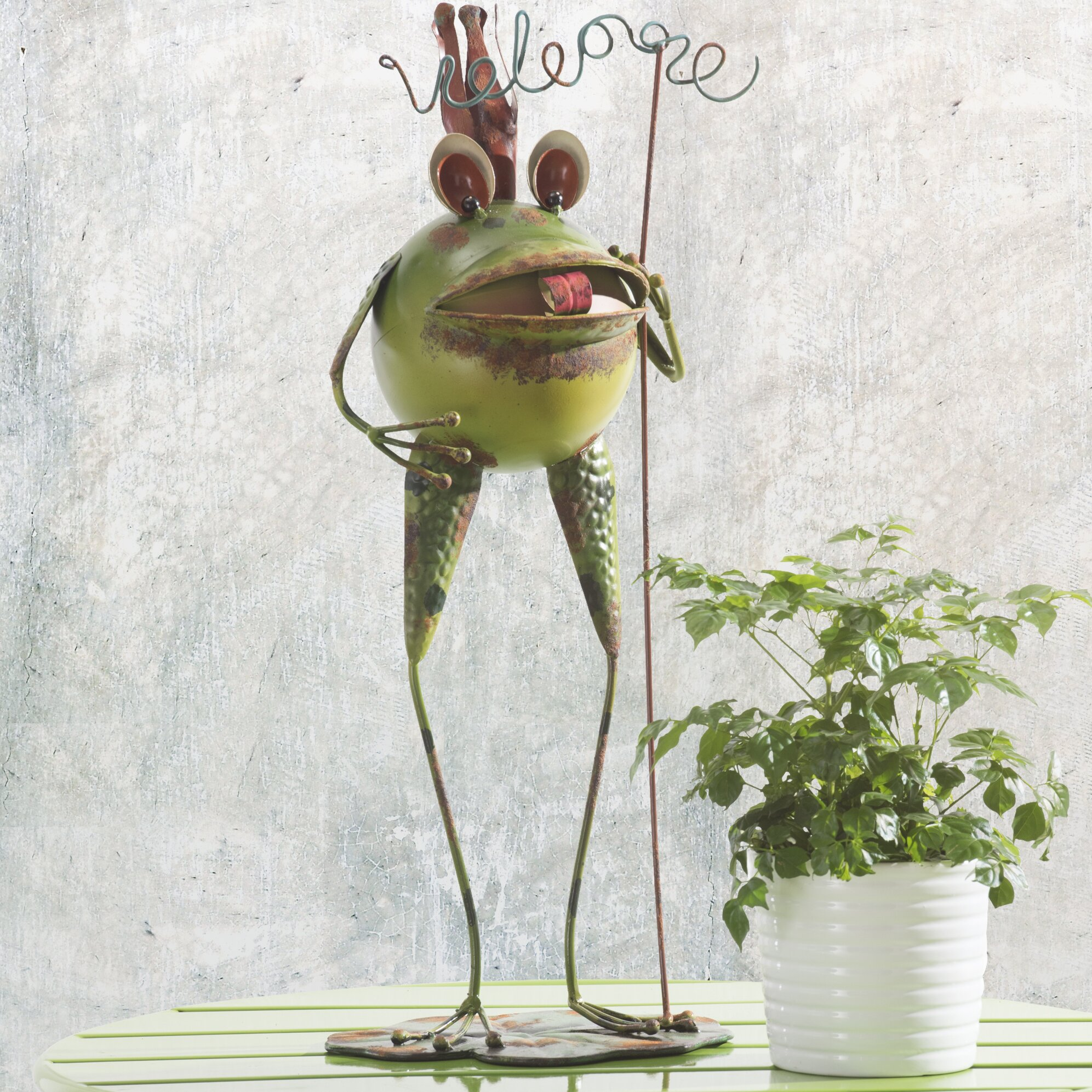 Sunjoy whimsical welcome frog garden statue wayfair for Whimsical garden statues