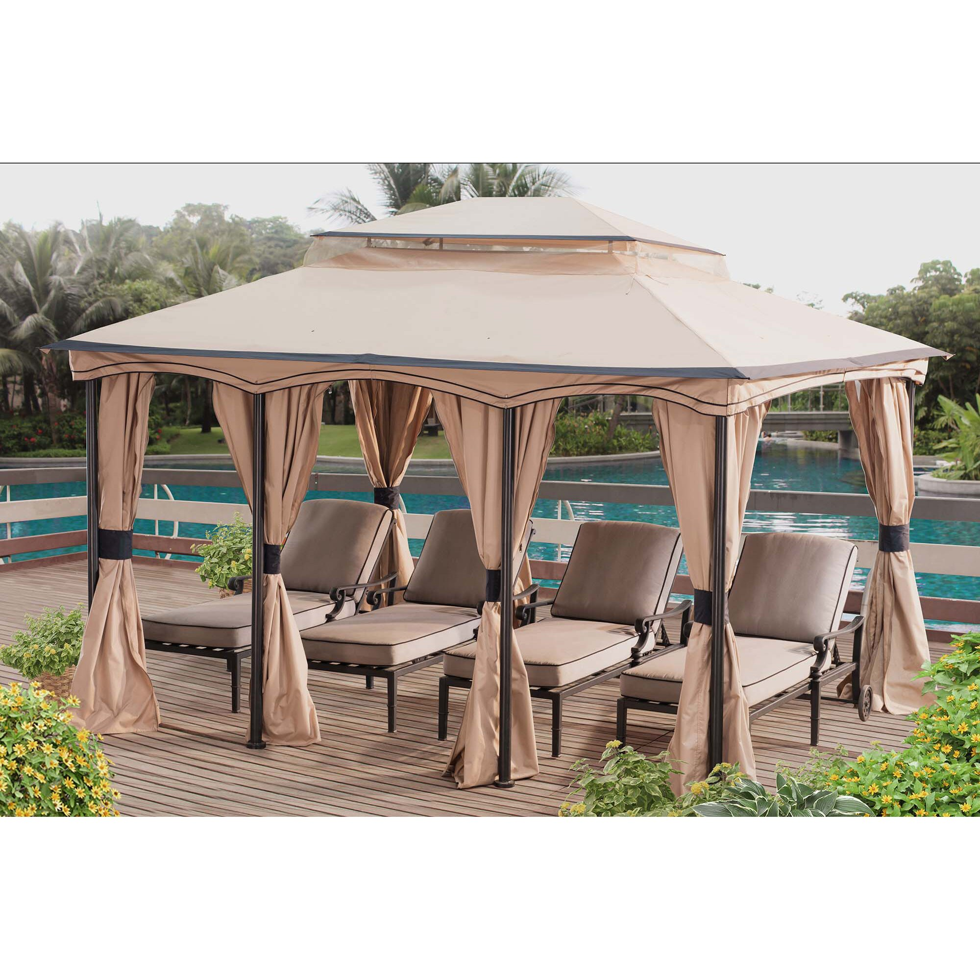 Backyard Cabanas Gazebos : Sunjoy Cabana 12 Ft W x 10 Ft D Gazebo  Wayfair
