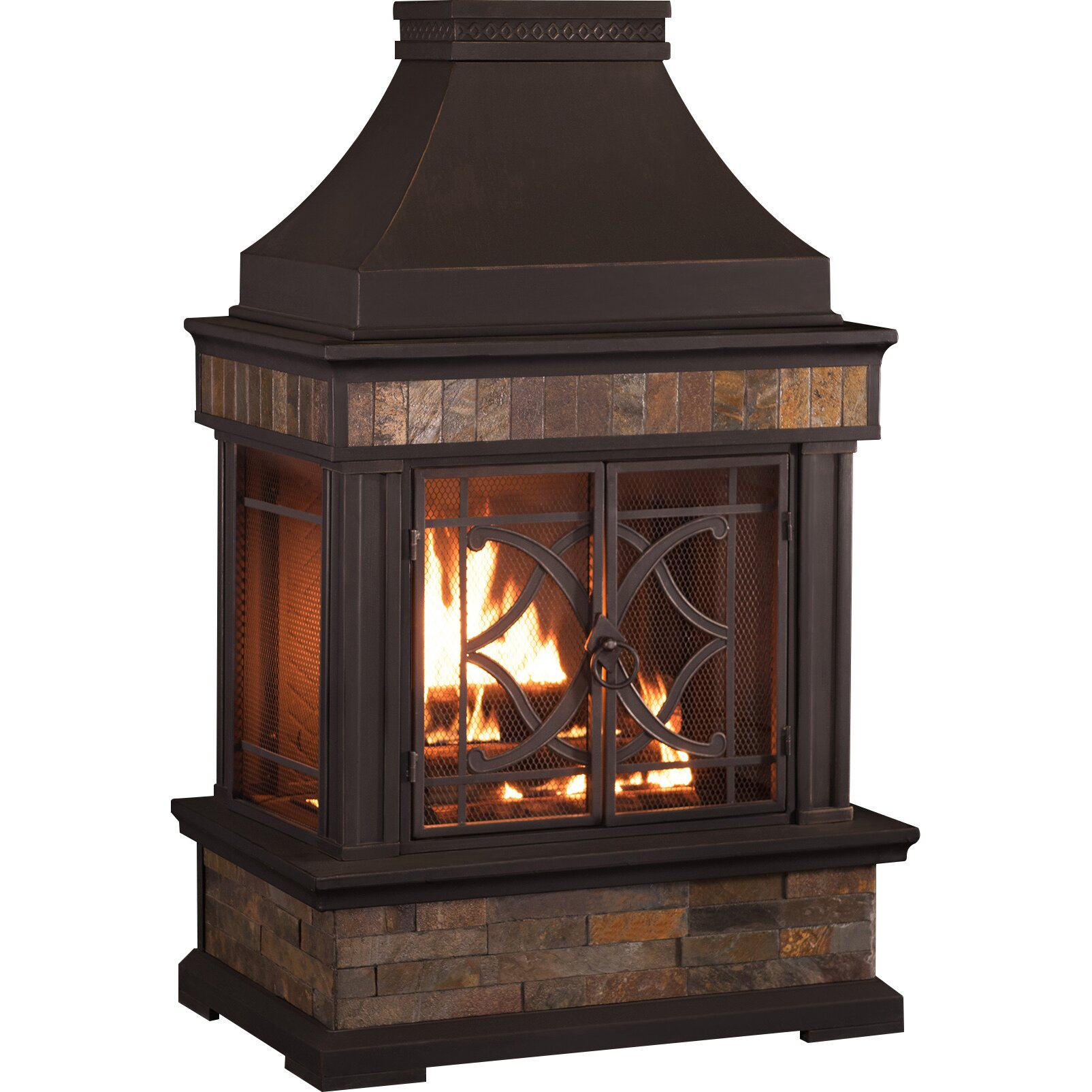 Sunjoy heirloom steel wood burning outdoor outdoor for Where to buy outdoor fireplace