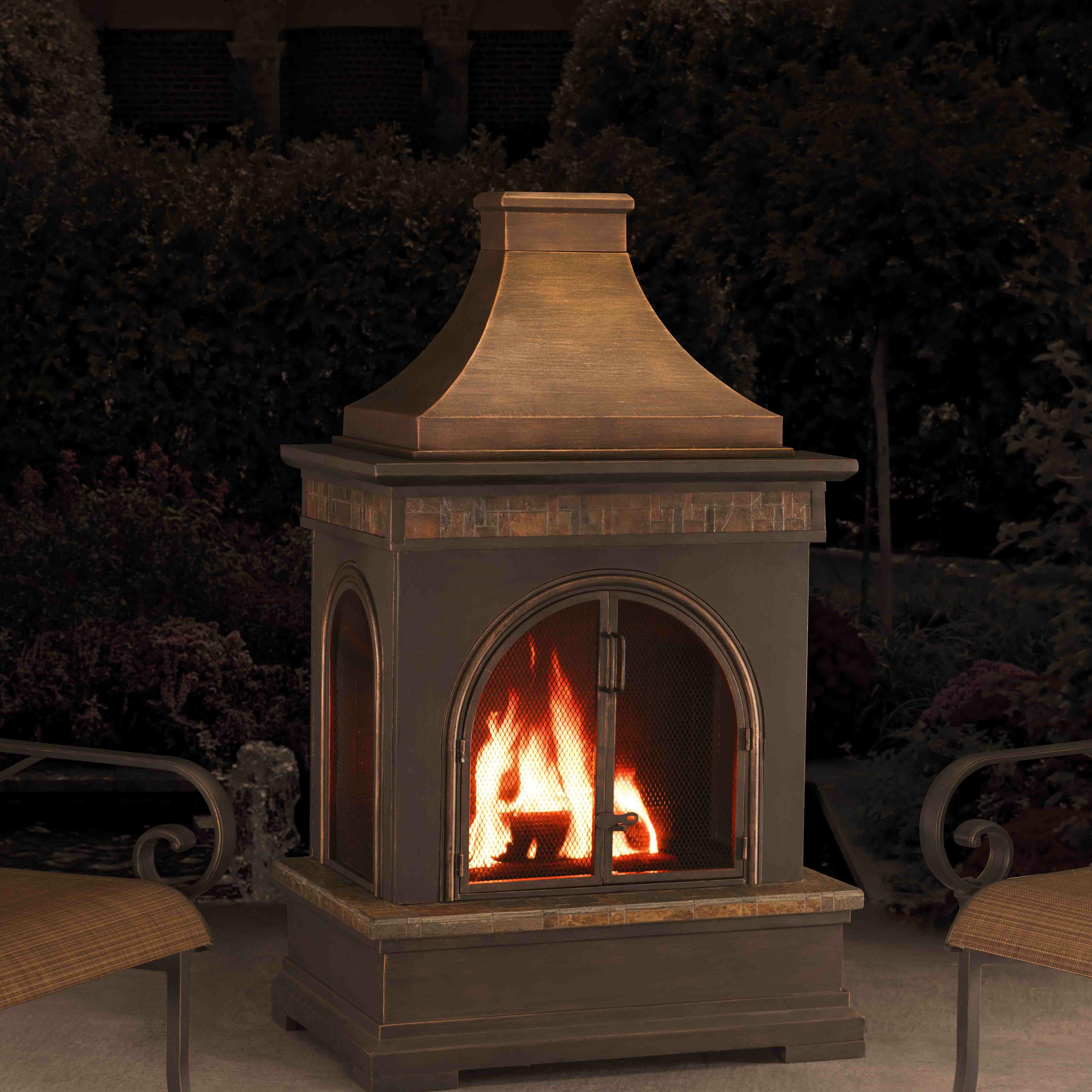 Sunjoy Hardy Slate And Steel Outdoor Fireplace Reviews Wayfair