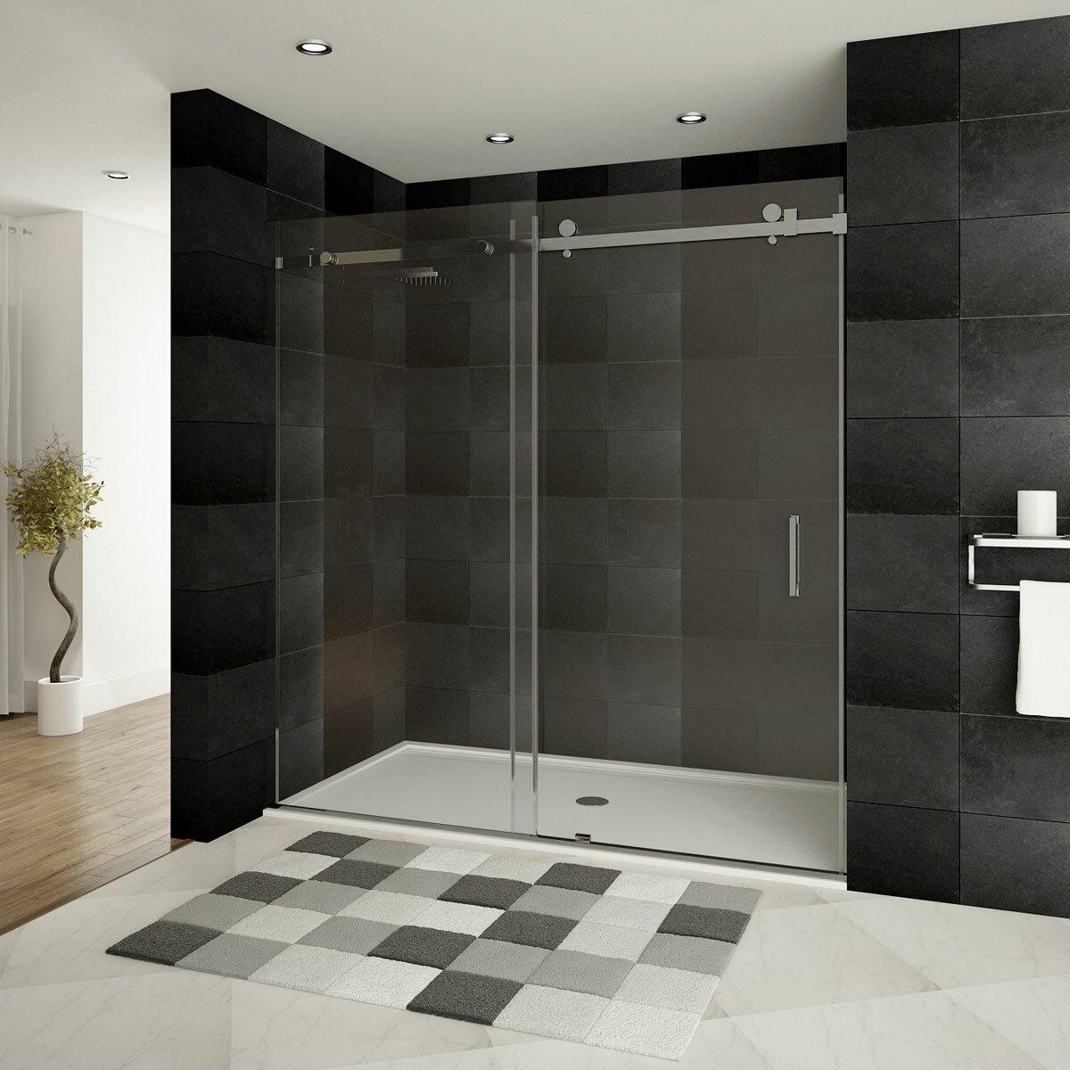 Lesscare ultra b 60 39 39 x 76 39 39 single sliding shower door for Single sliding glass door