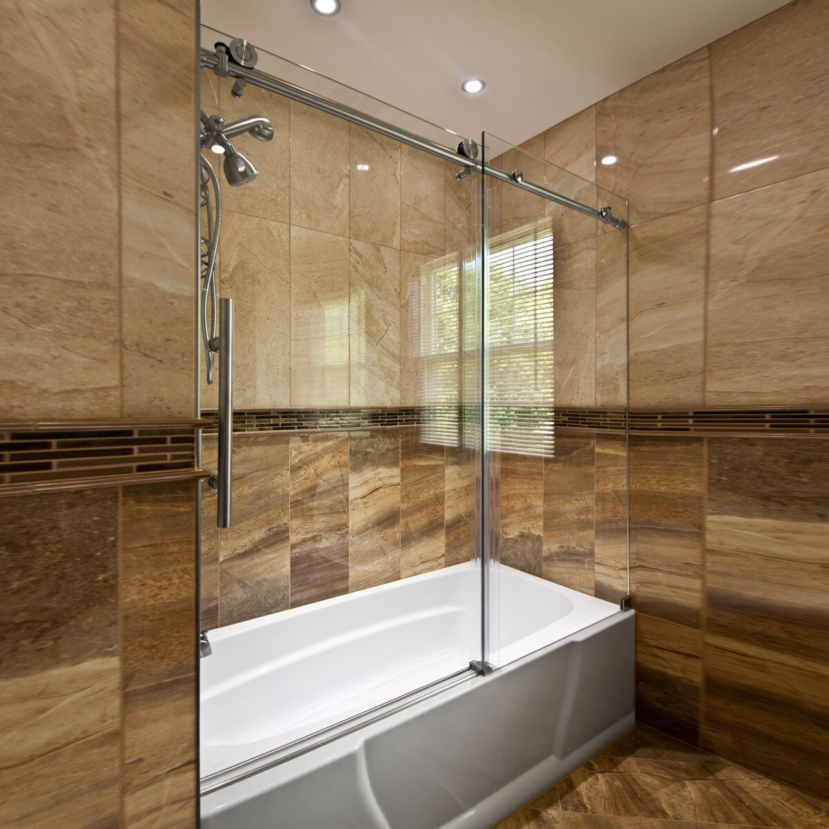Bathtub Glass Door Slidding Design Installed On Laminate Floor