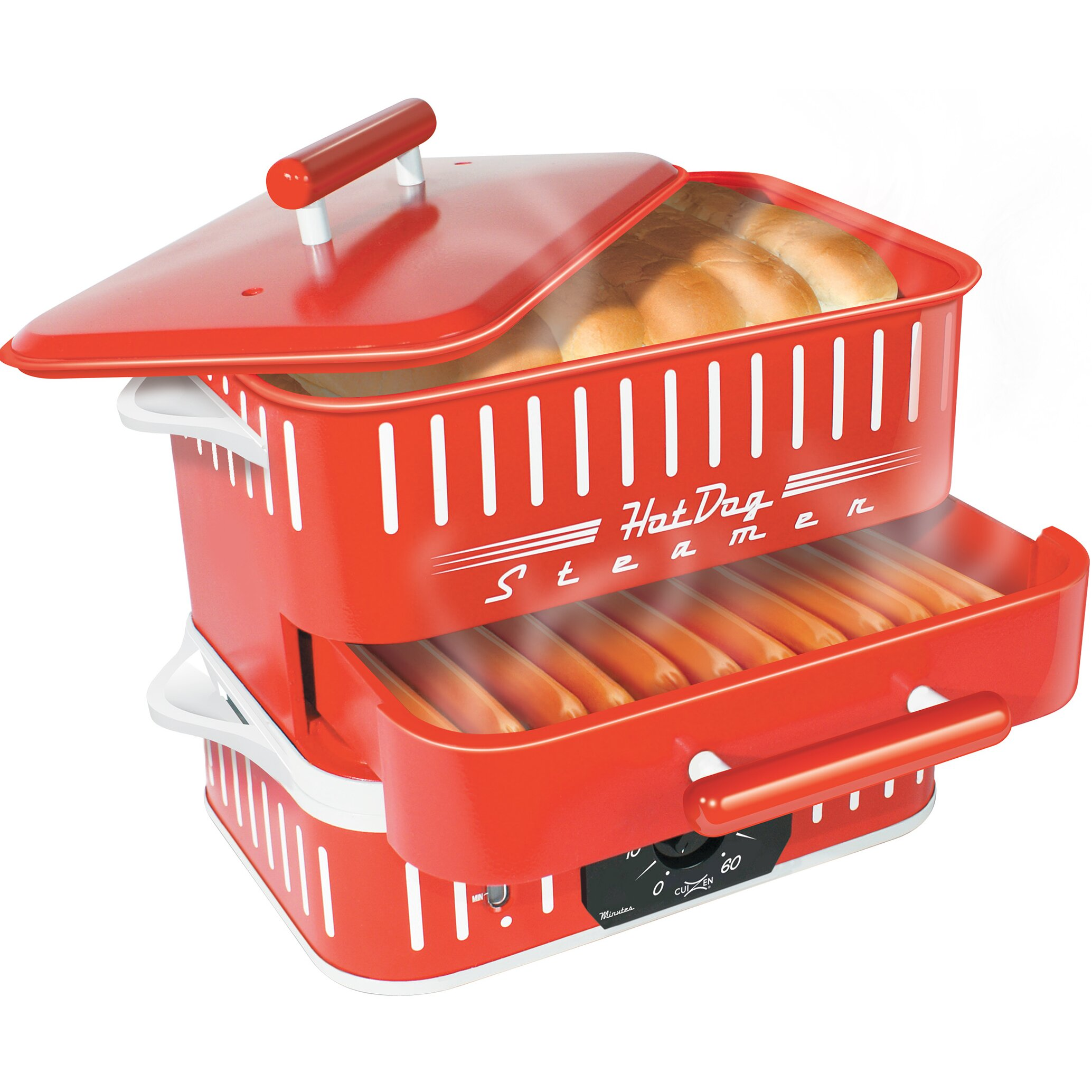 cuizen retro hot dog steamer with lid reviews wayfair. Black Bedroom Furniture Sets. Home Design Ideas
