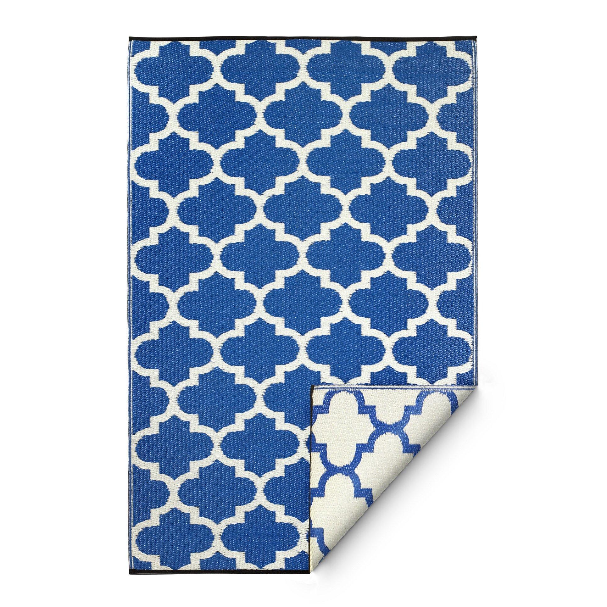 Fab habitat tangier hand woven blue indoor outdoor area for Blue indoor outdoor rug