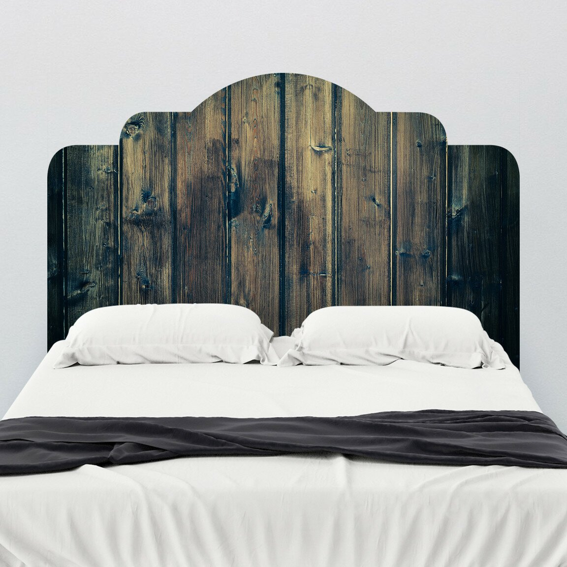 walls need love stained wood adhesive headboard wall mural. Black Bedroom Furniture Sets. Home Design Ideas