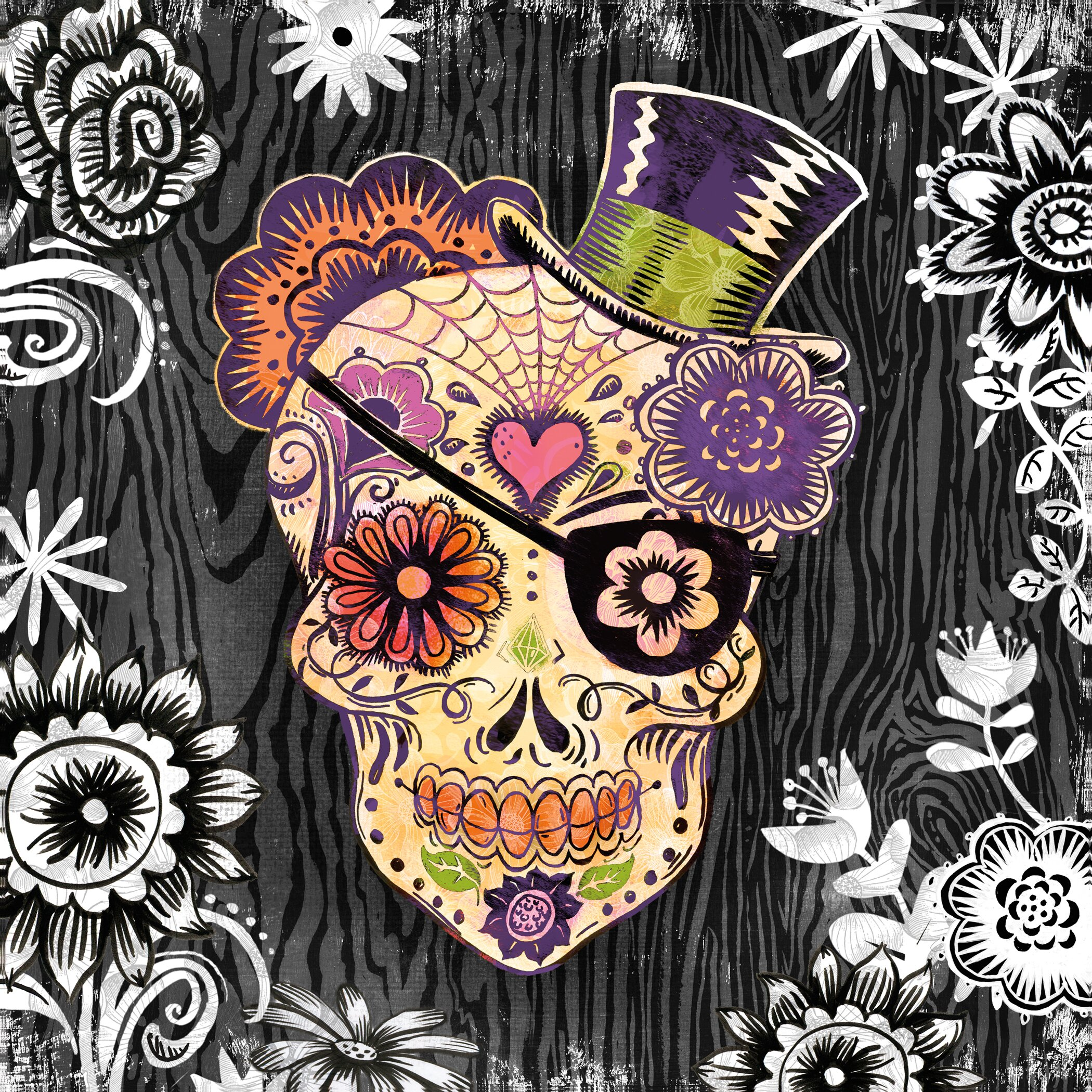 Portfolio canvas sugar skull daisy by geoff allen graphic art on wrapped canvas wayfair - Tete mort mexicaine ...