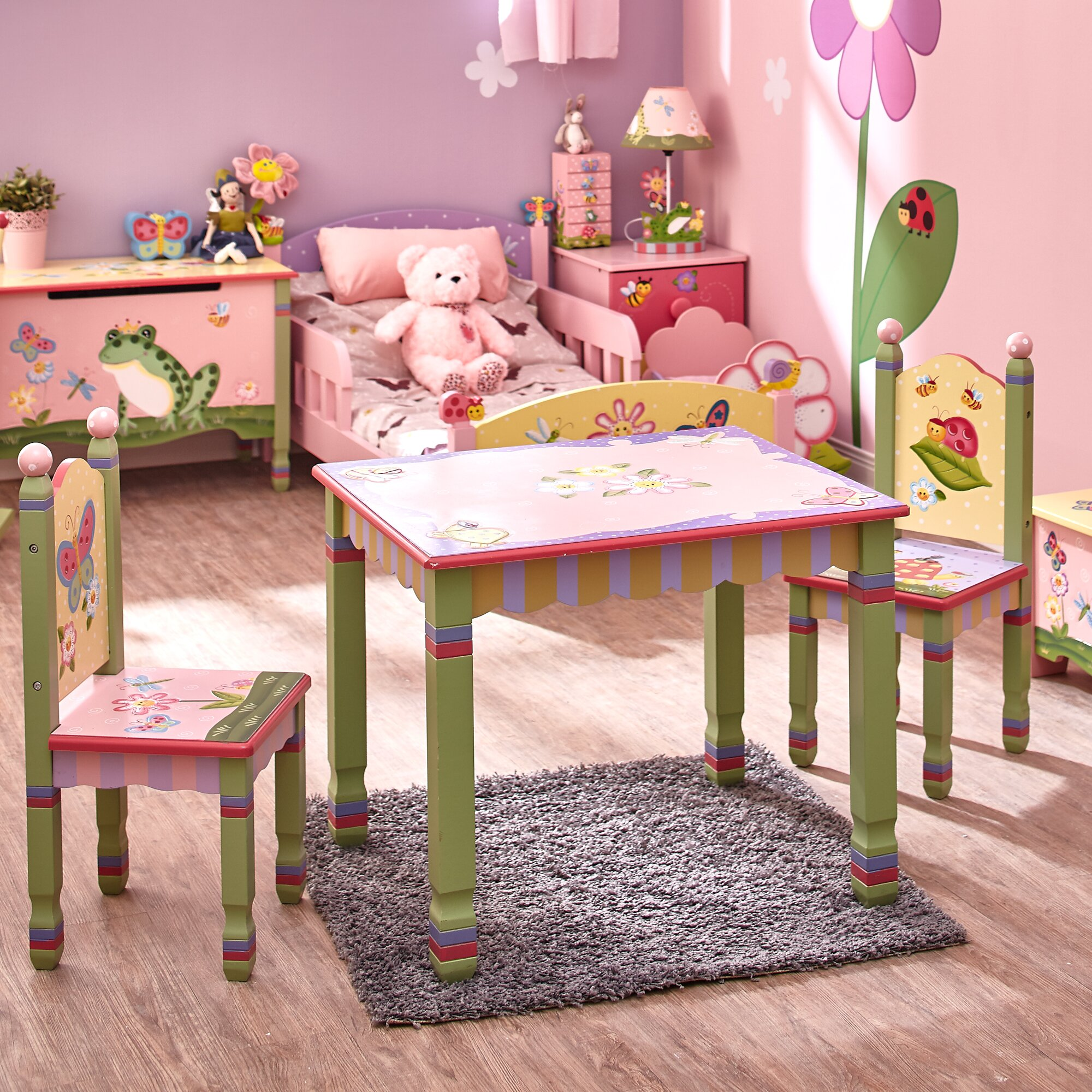 Table And Chair Set: Fantasy Fields Magic Garden Kids 3 Piece Table & Chair Set