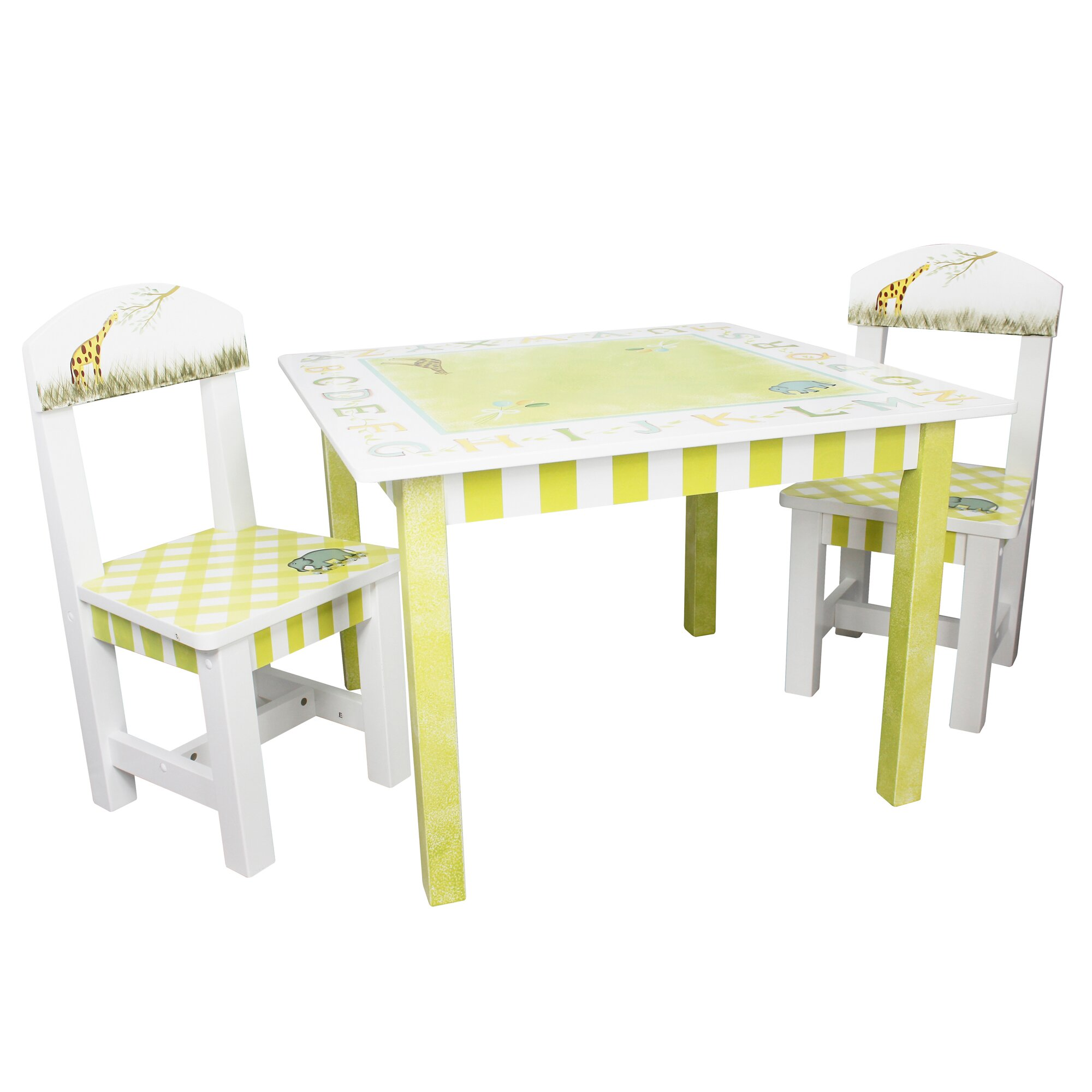 Fantasy fields alphabet kids 3 piece table and chair set for Table and chair set
