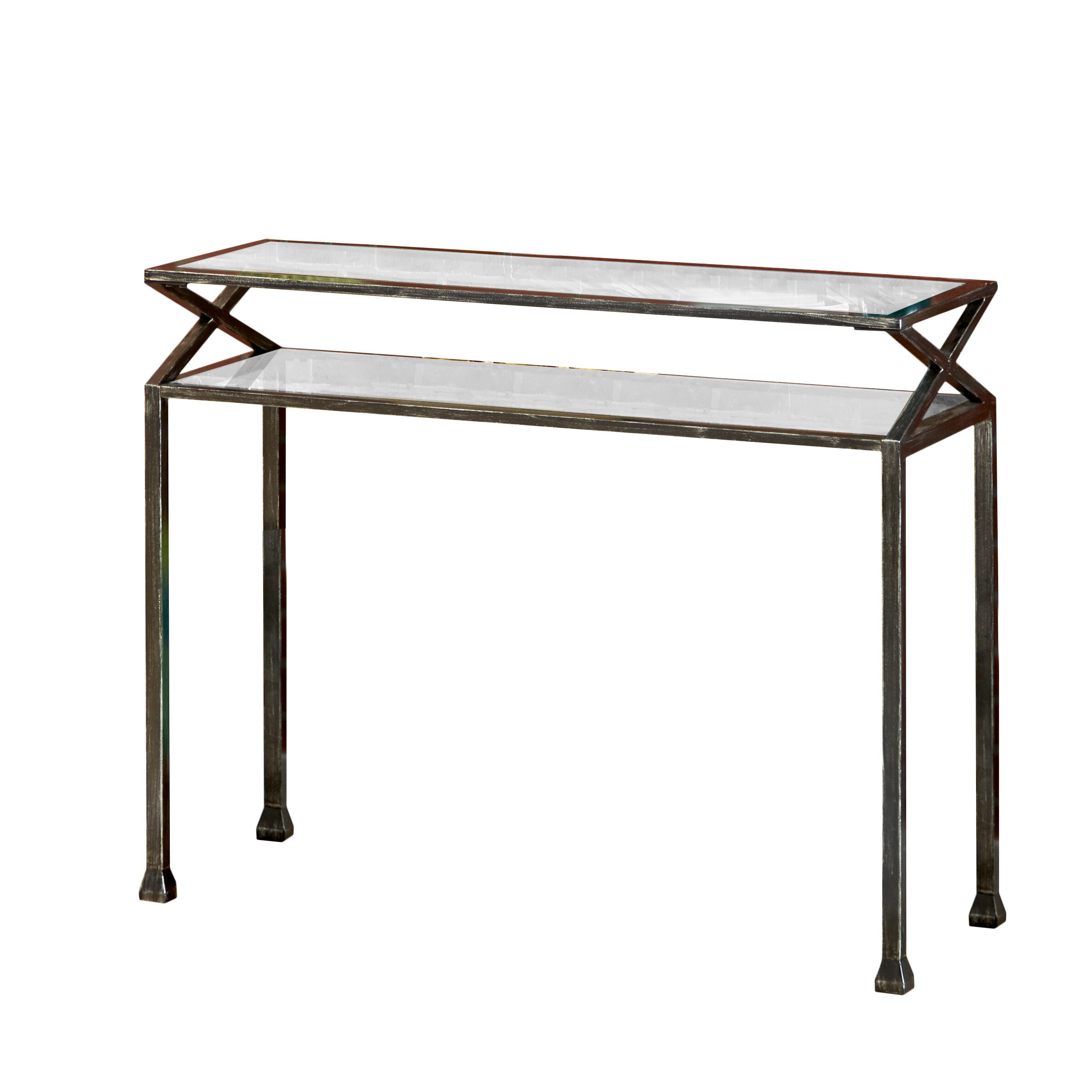 zipcode design rosetta metal console table reviews. Black Bedroom Furniture Sets. Home Design Ideas