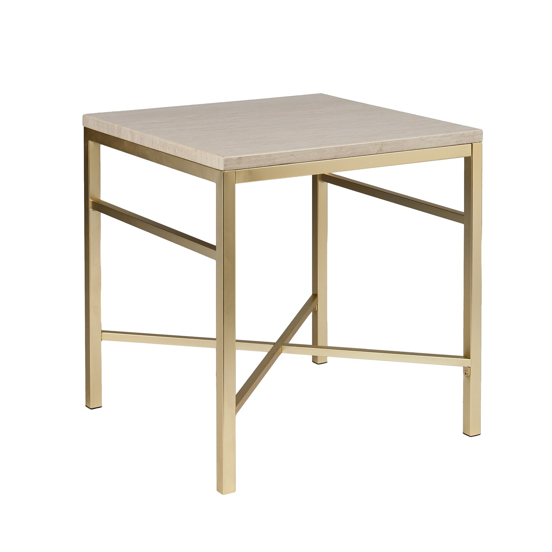 Zipcode design lourdes faux stone end table in travertine for Table exterieur lourde