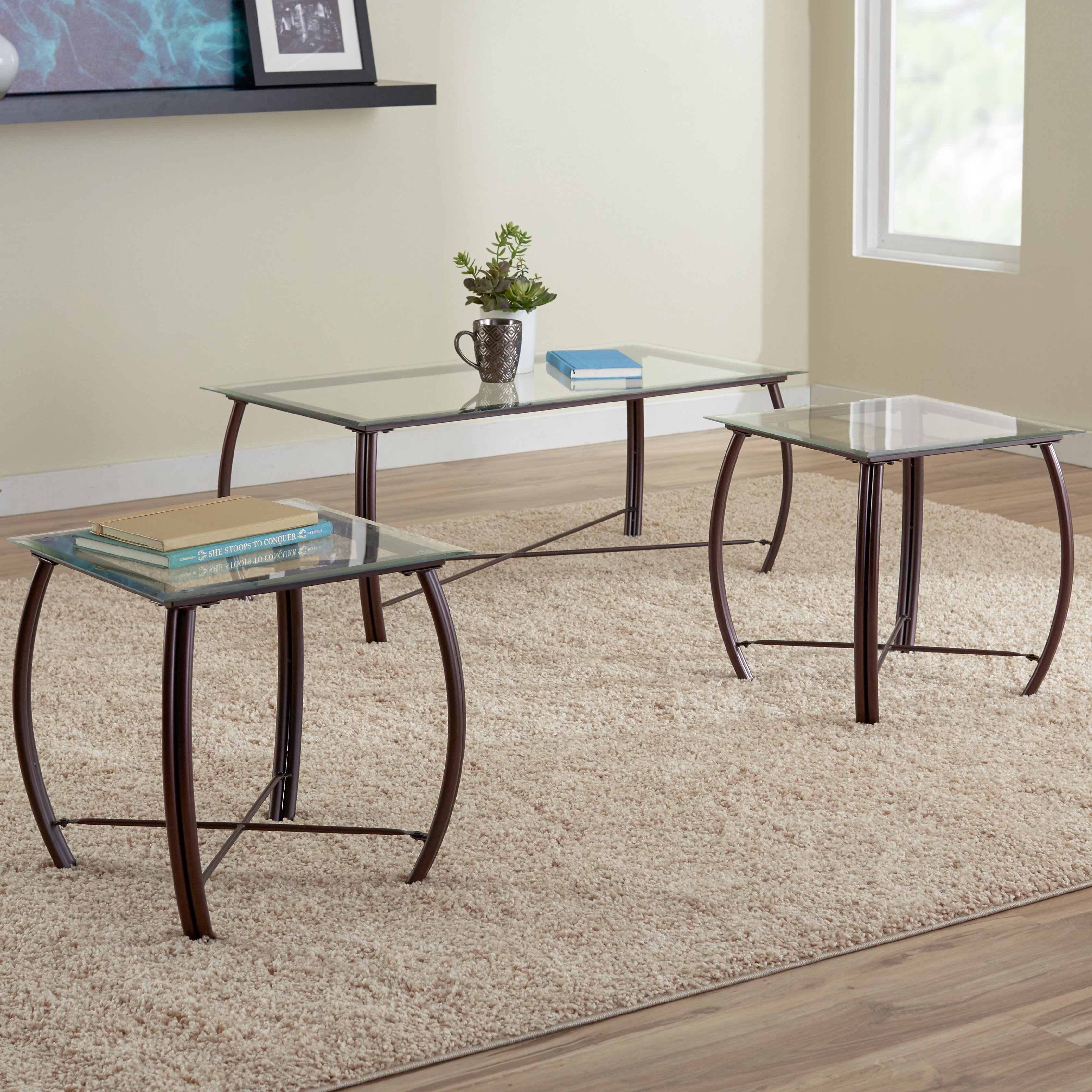 Zipcode design christina 3 piece coffee table set for Coffee tables 3 piece