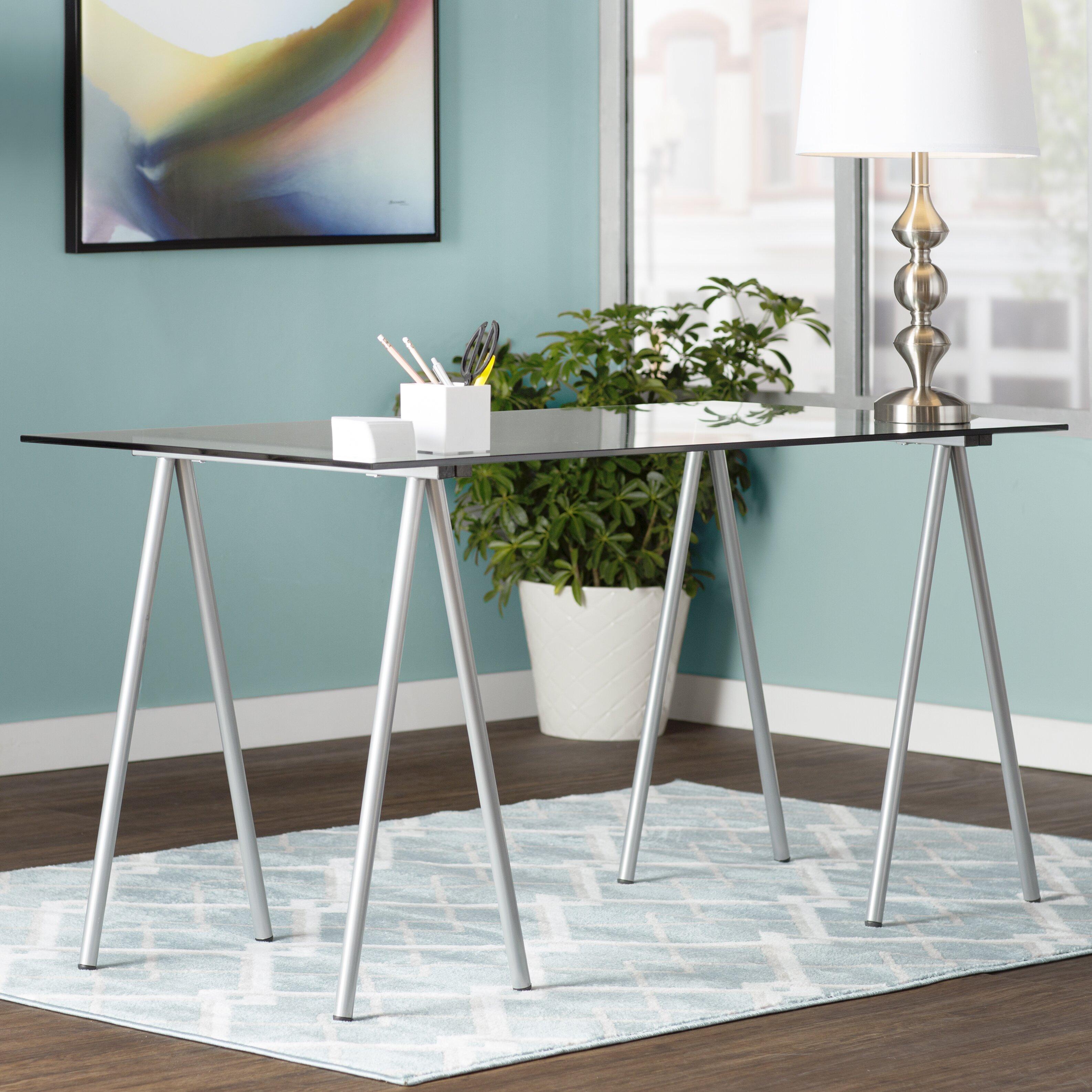 Zipcode Design Ariel Writing Desk With Glass Top
