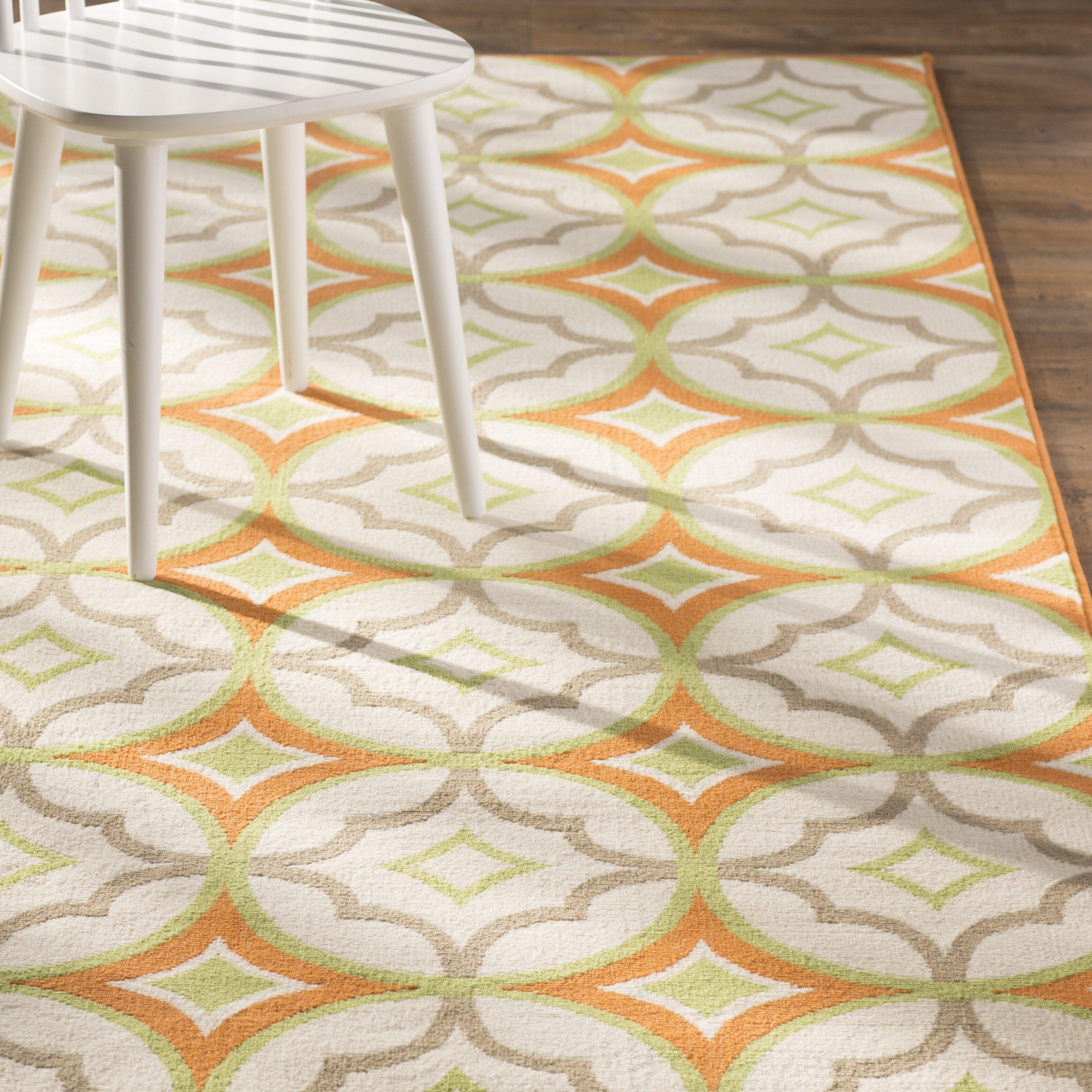 Zipcode™ Design Stella White/Orange Indoor/Outdoor Area
