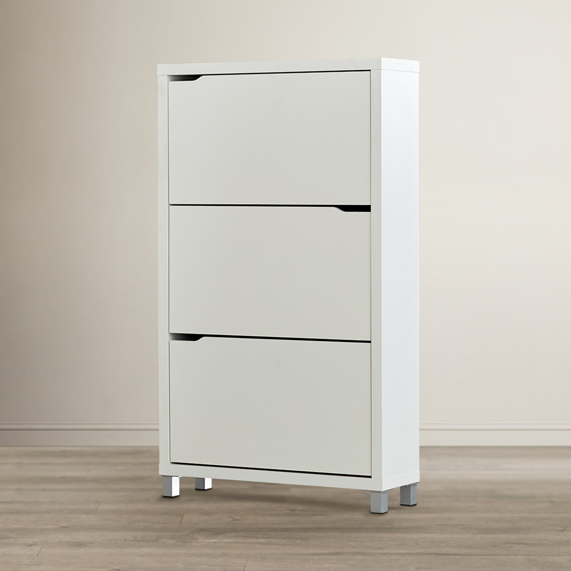 Zipcode design 3 drawer shoe cabinet reviews wayfair for Shoe cabinet